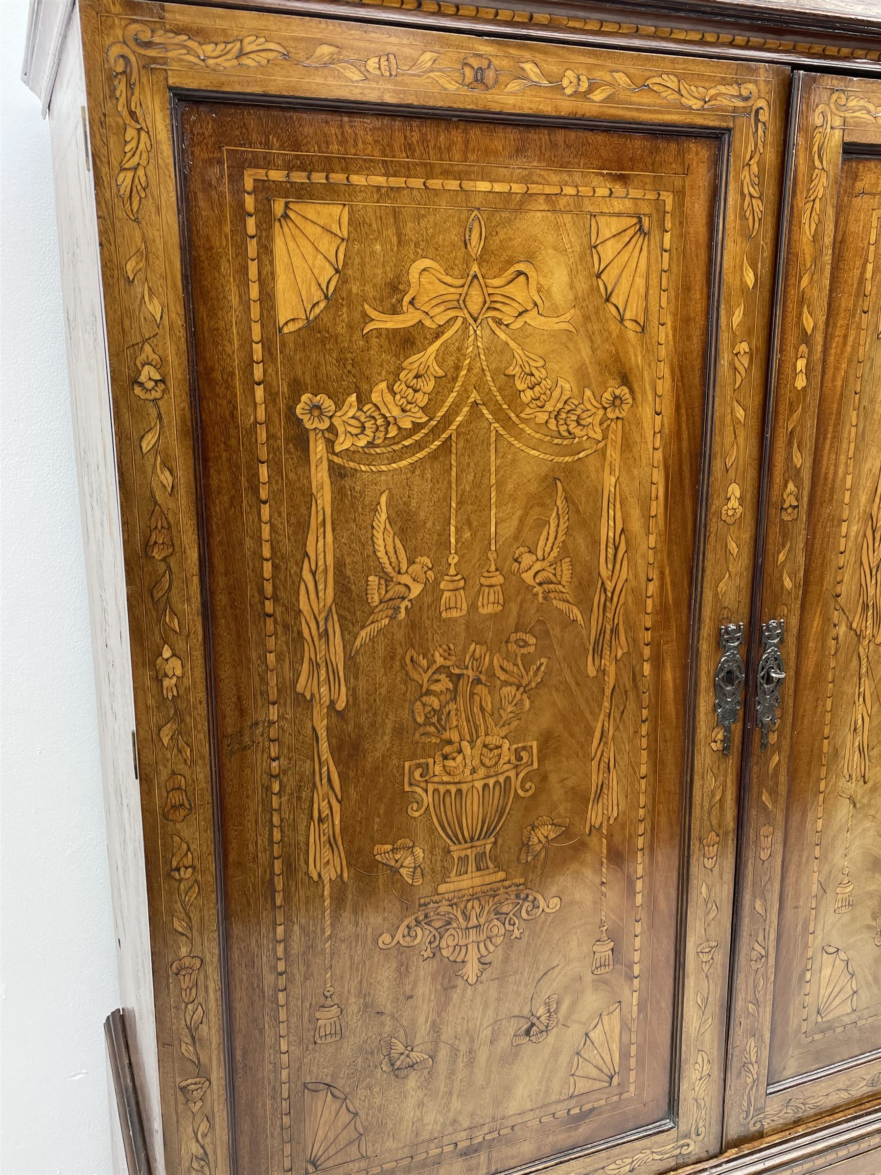 Georgian mahogany Dutch style marquetry press cupboard on chest - Image 4 of 8