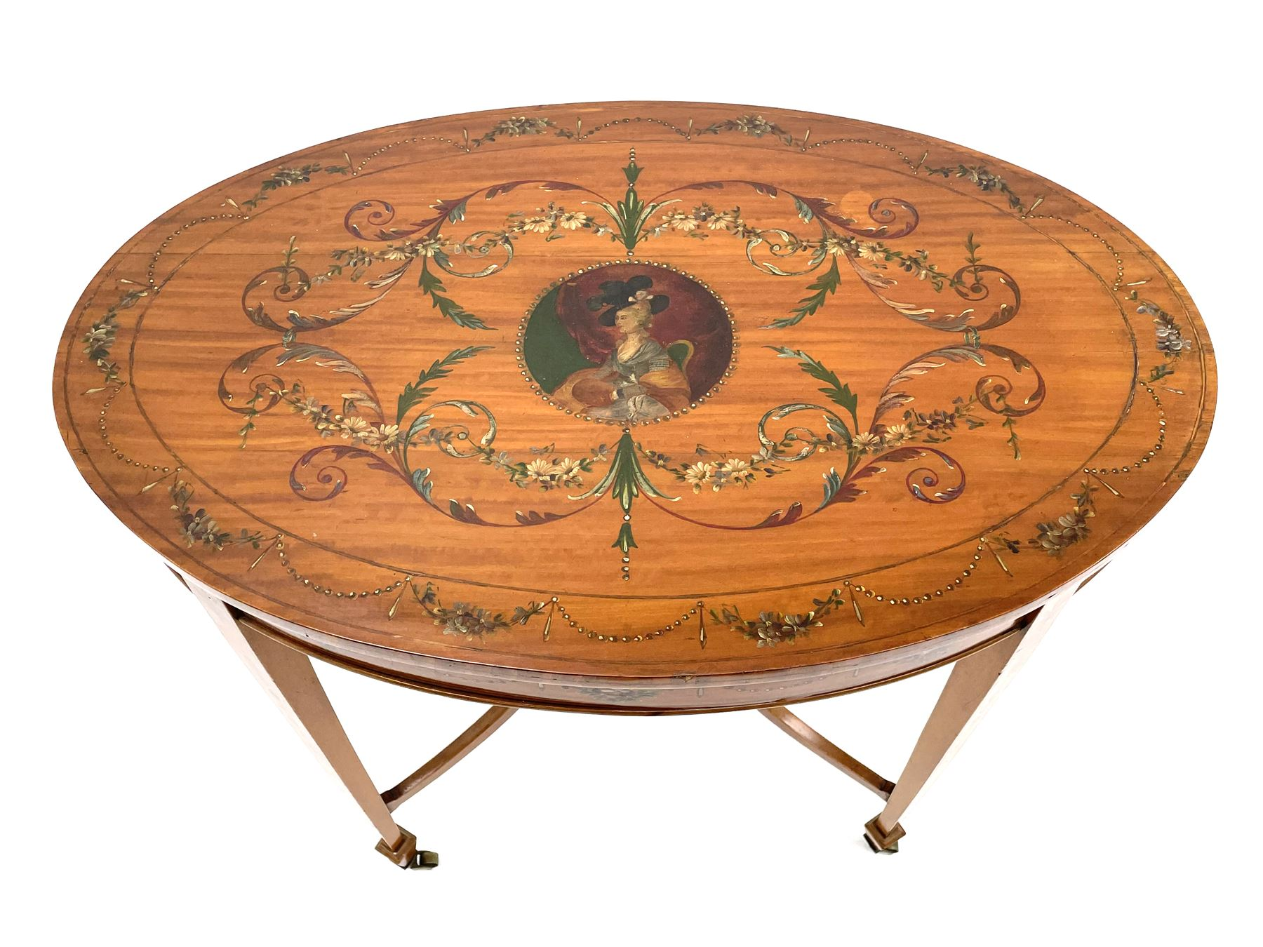 Edwardian Sheraton revival satinwood and painted centre table
