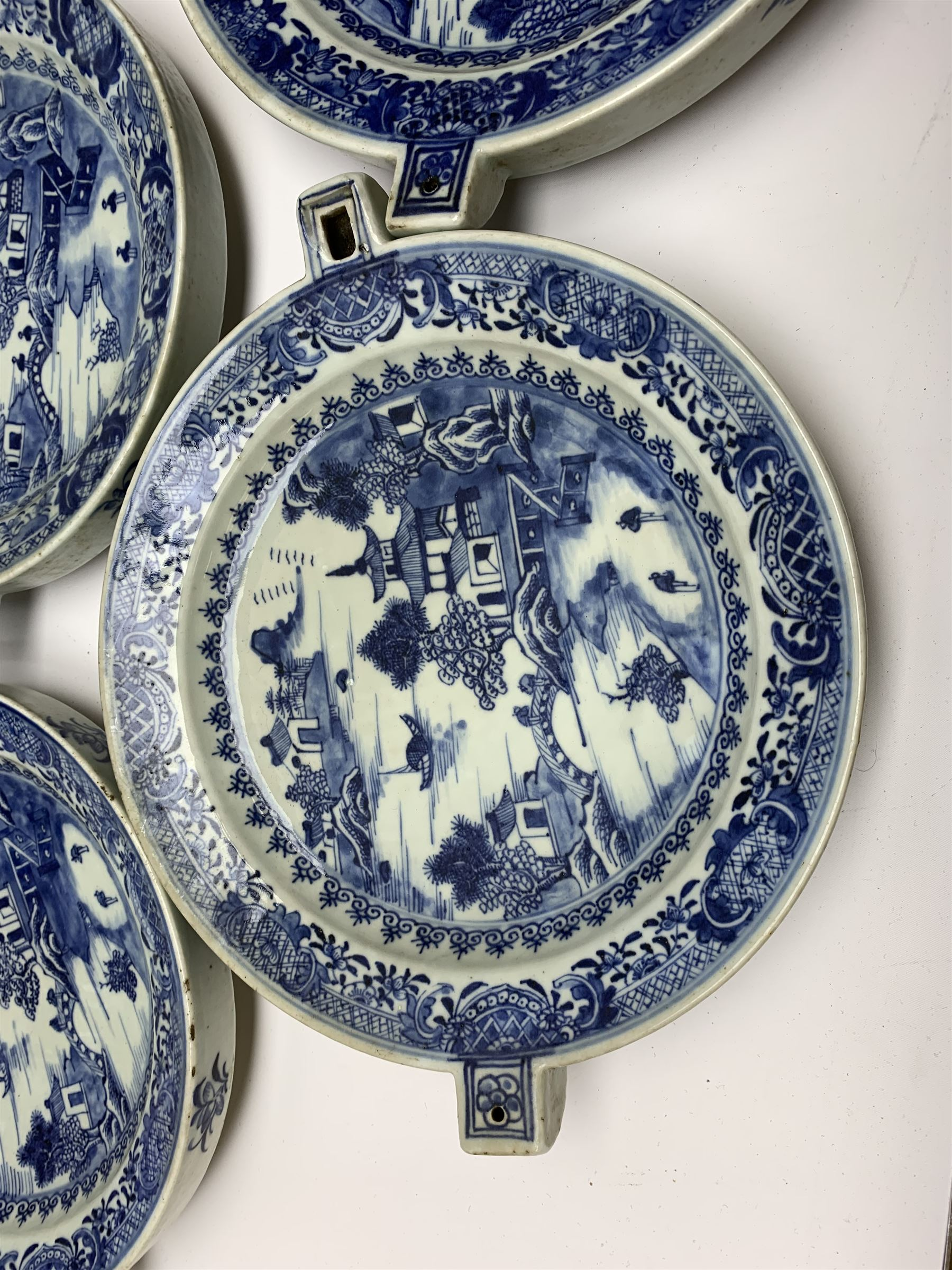 Set of seven late 18th/early 19th century Chinese export blue and white hot water plates - Image 4 of 11