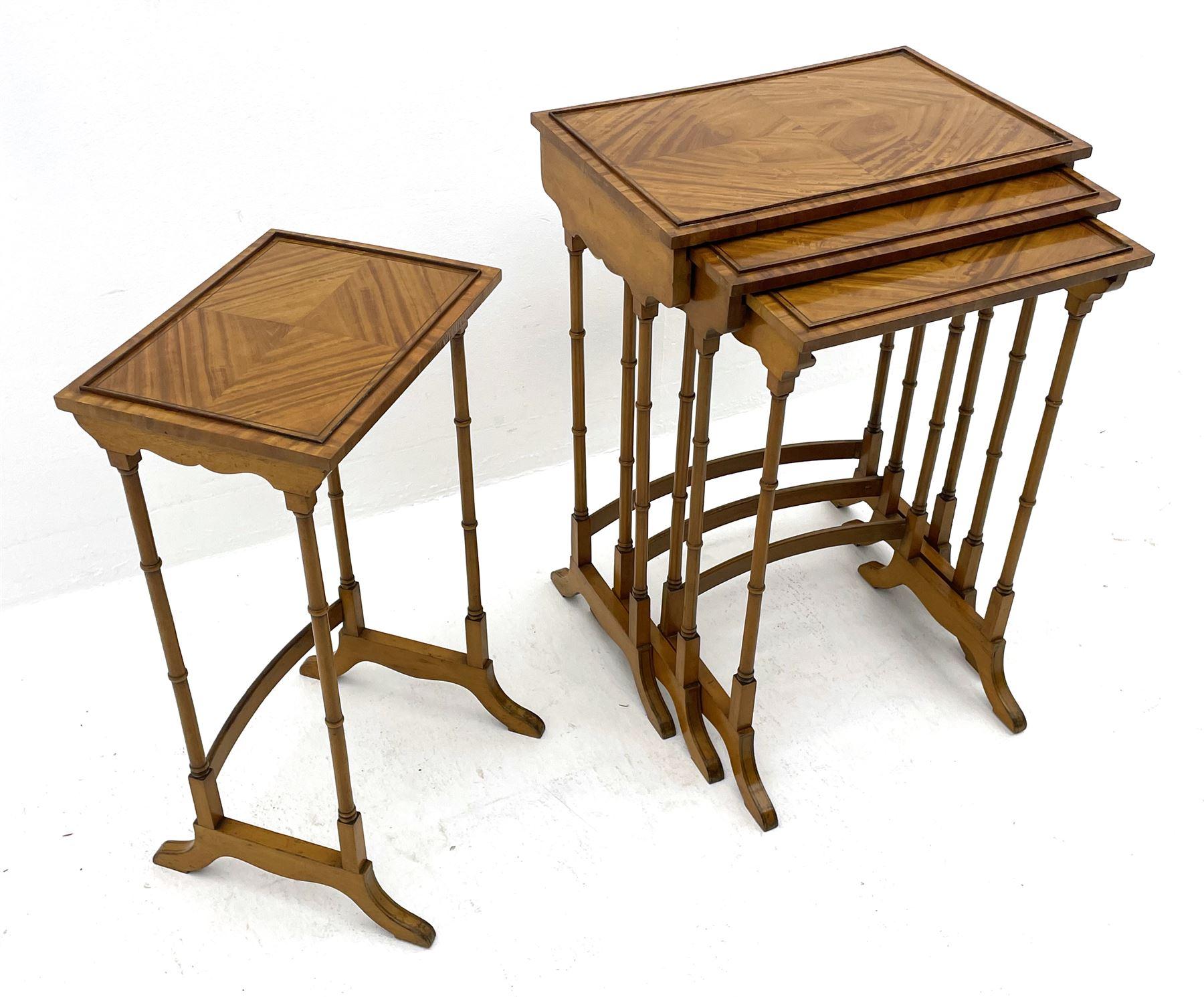 Edwardian satinwood quartetto nest of occasional tables - Image 2 of 6