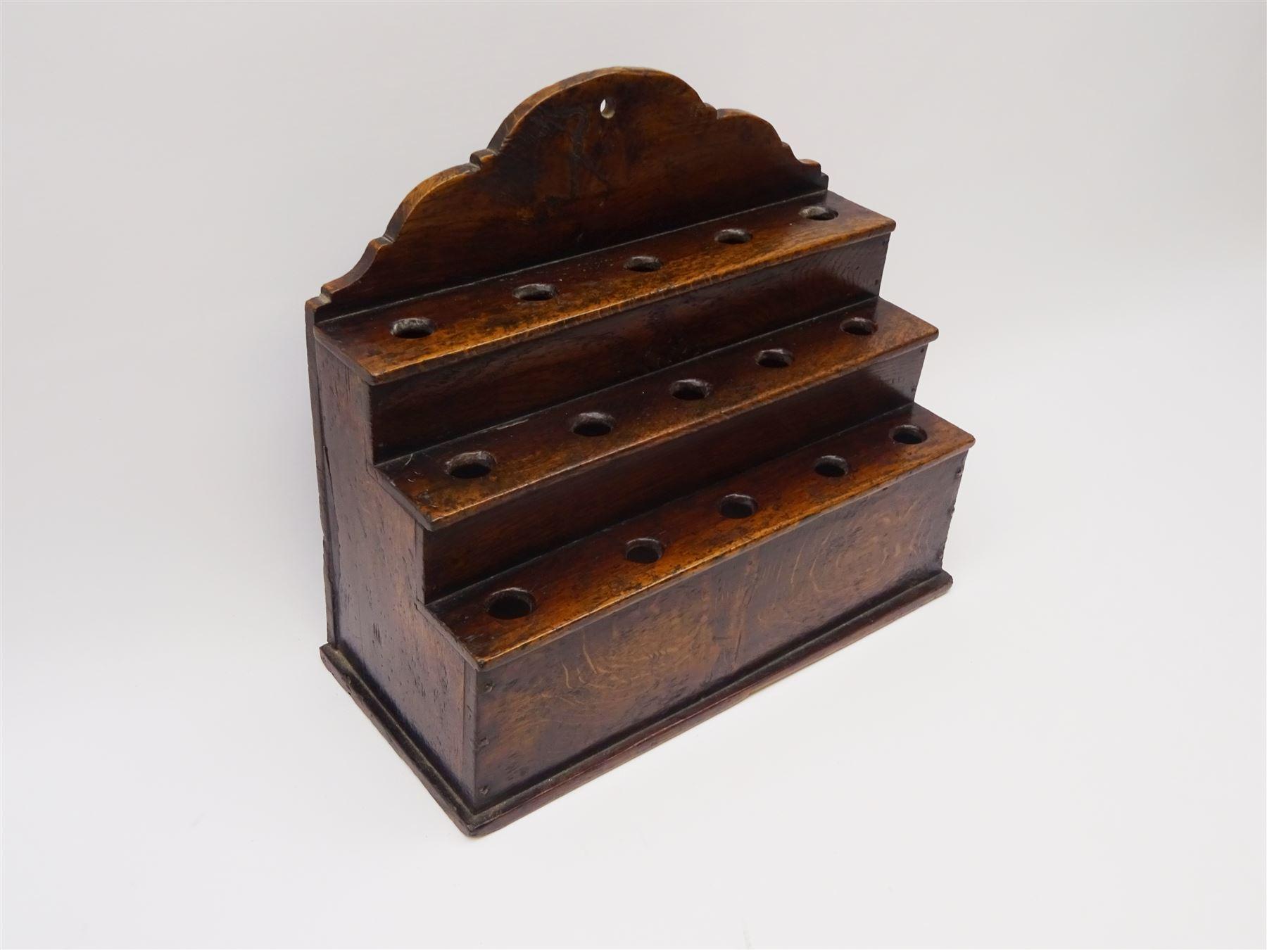 George III boarded oak spoon rack - Image 2 of 4