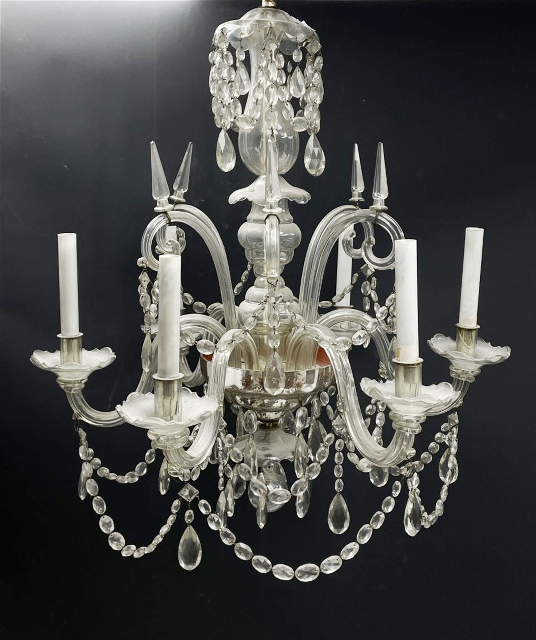 Late 20th century glass chandelier - Image 2 of 5