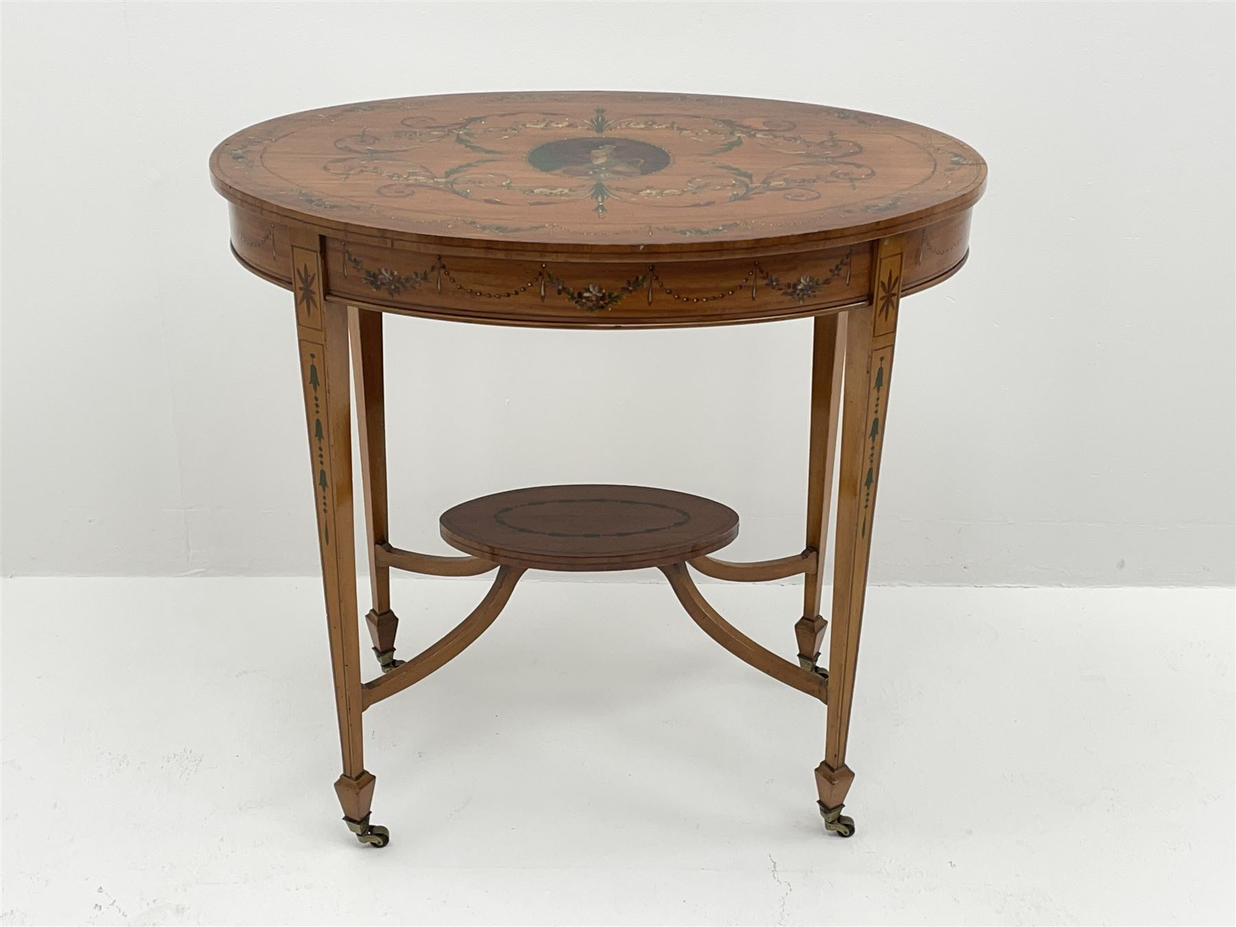 Edwardian Sheraton revival satinwood and painted centre table - Image 5 of 8
