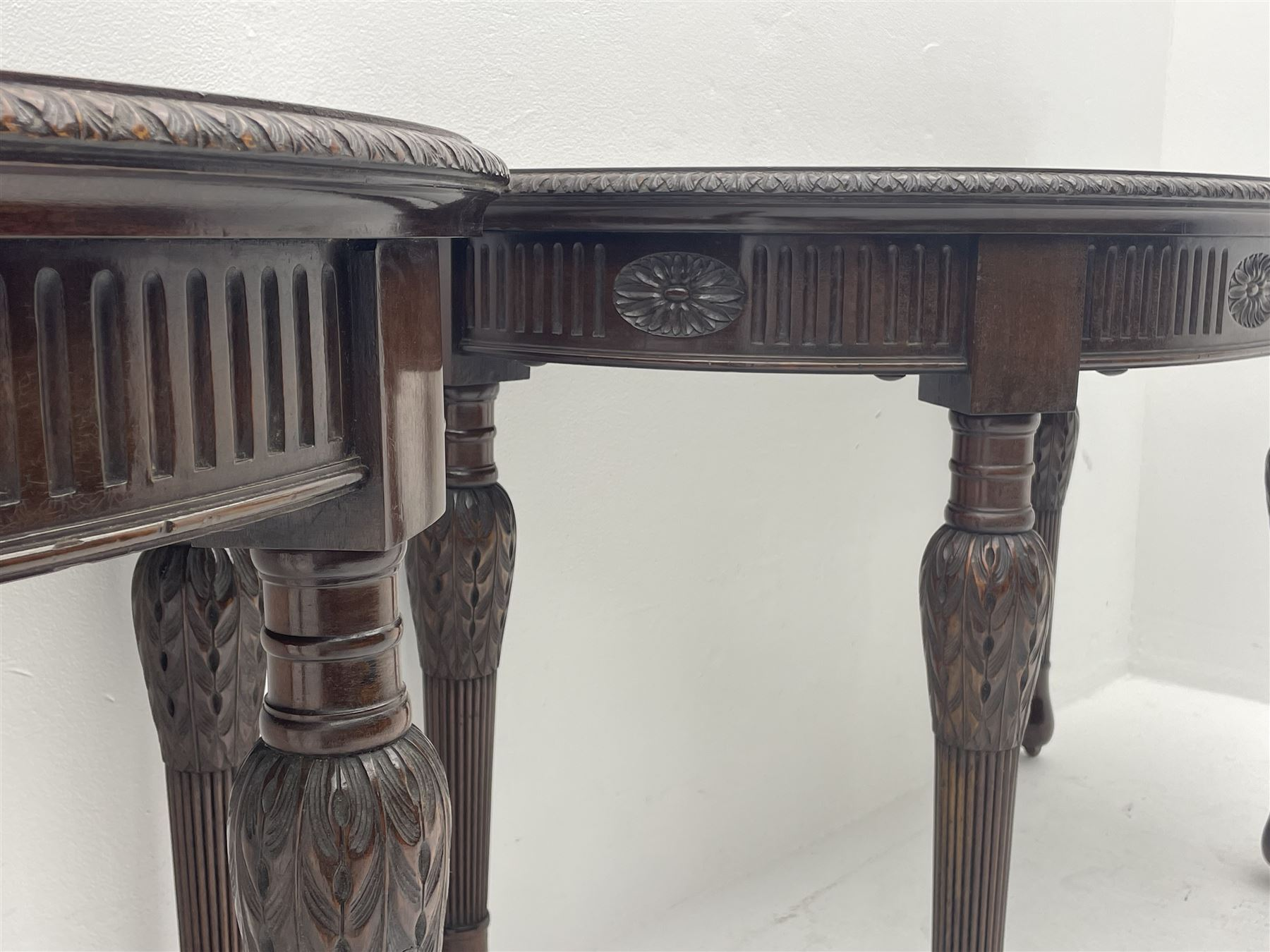 Pair early 20th century Hepplewhite style mahogany D-end console tables - Image 4 of 7