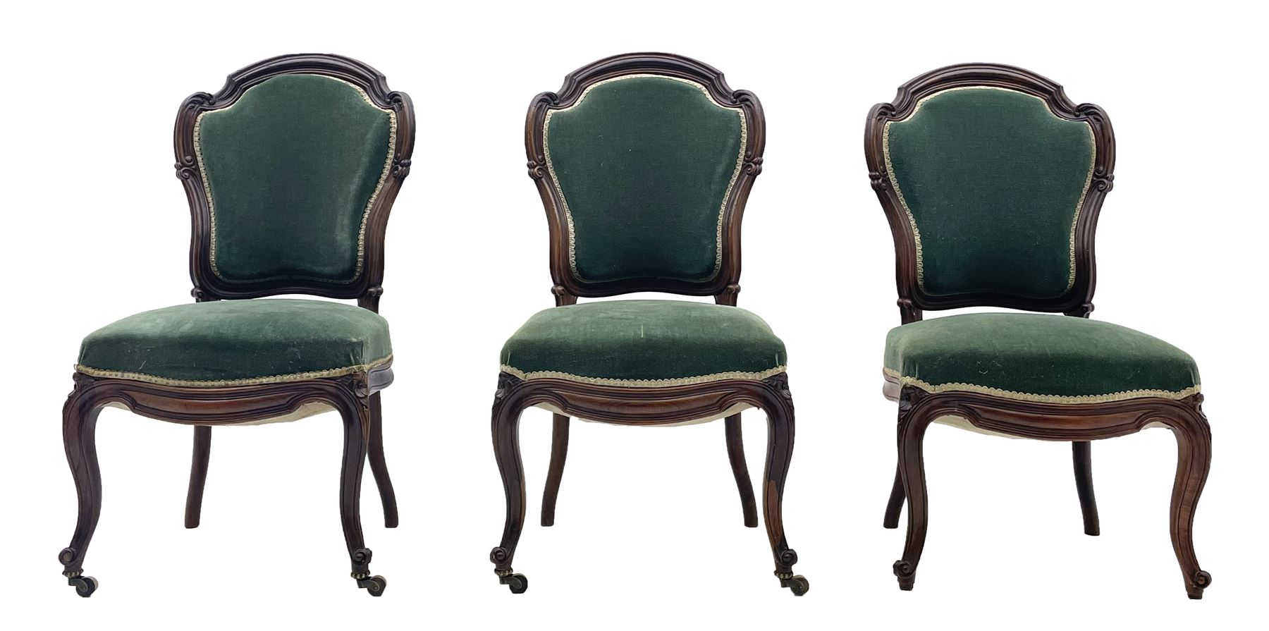 Set three Victorian rosewood drawing room side chairs
