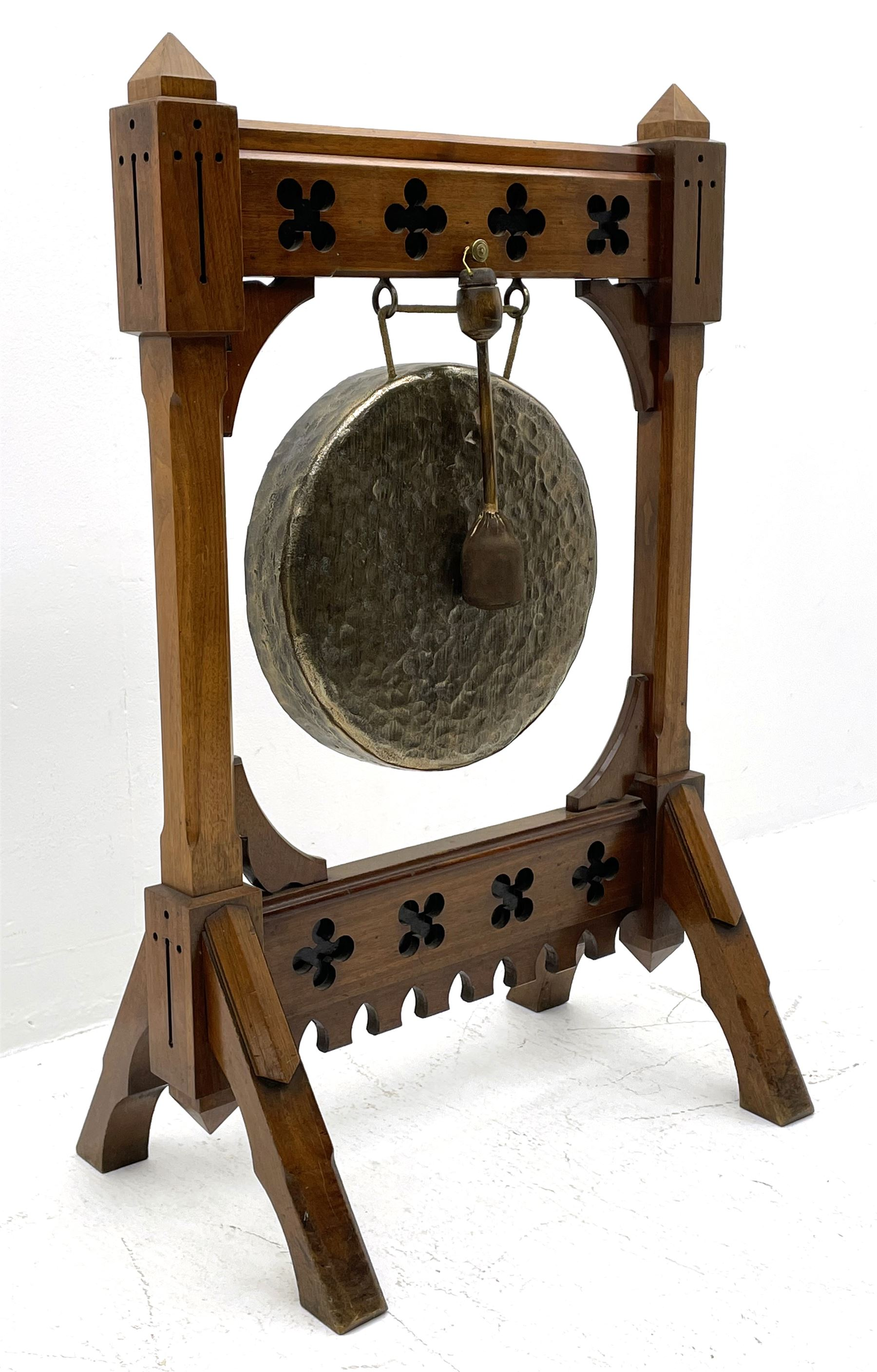 Late Victorian Aesthetic Movement walnut and ebonised dinner gong - Image 2 of 5