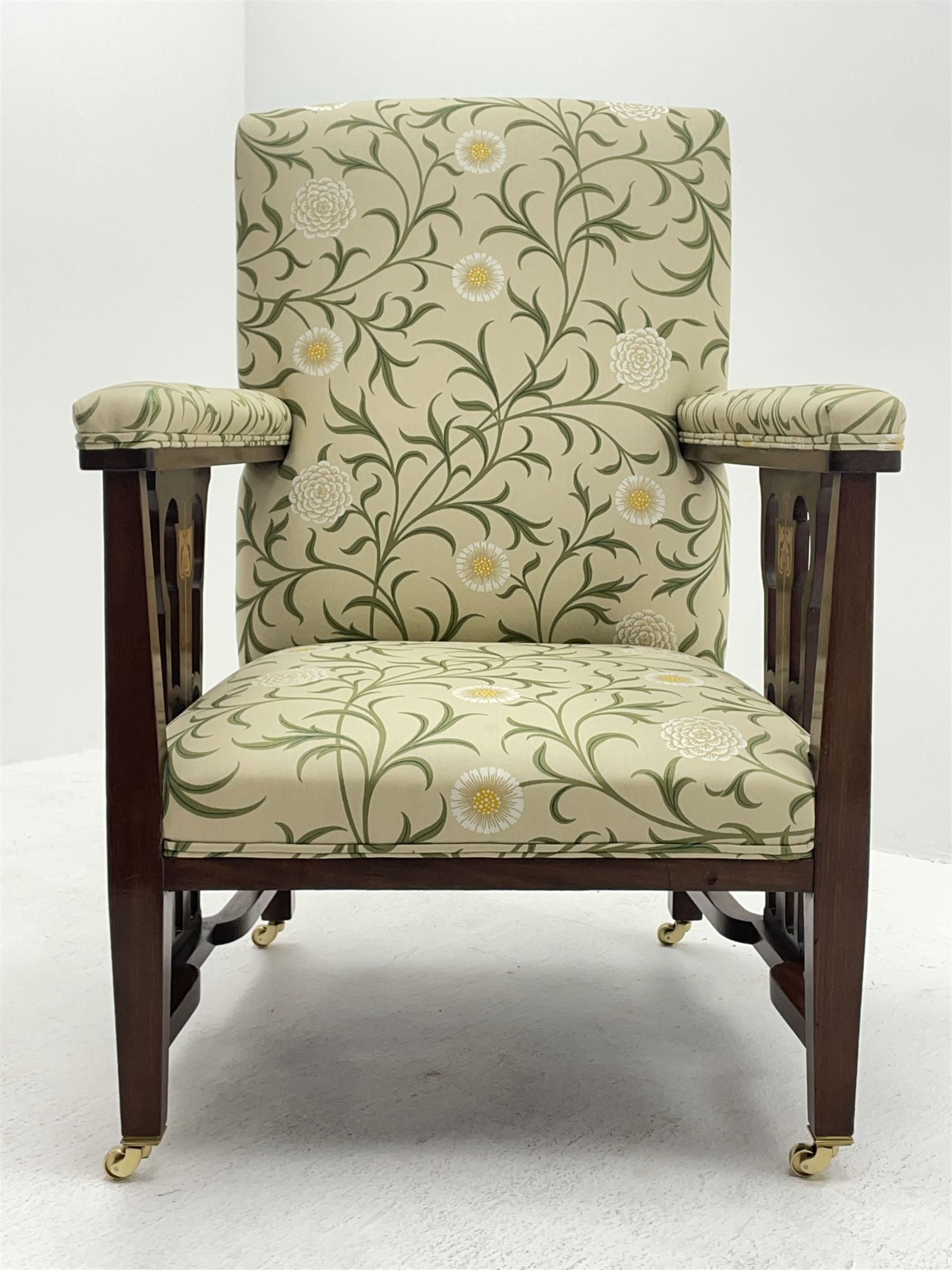 Late 19th century Arts and Crafts mahogany armchair - Image 3 of 7