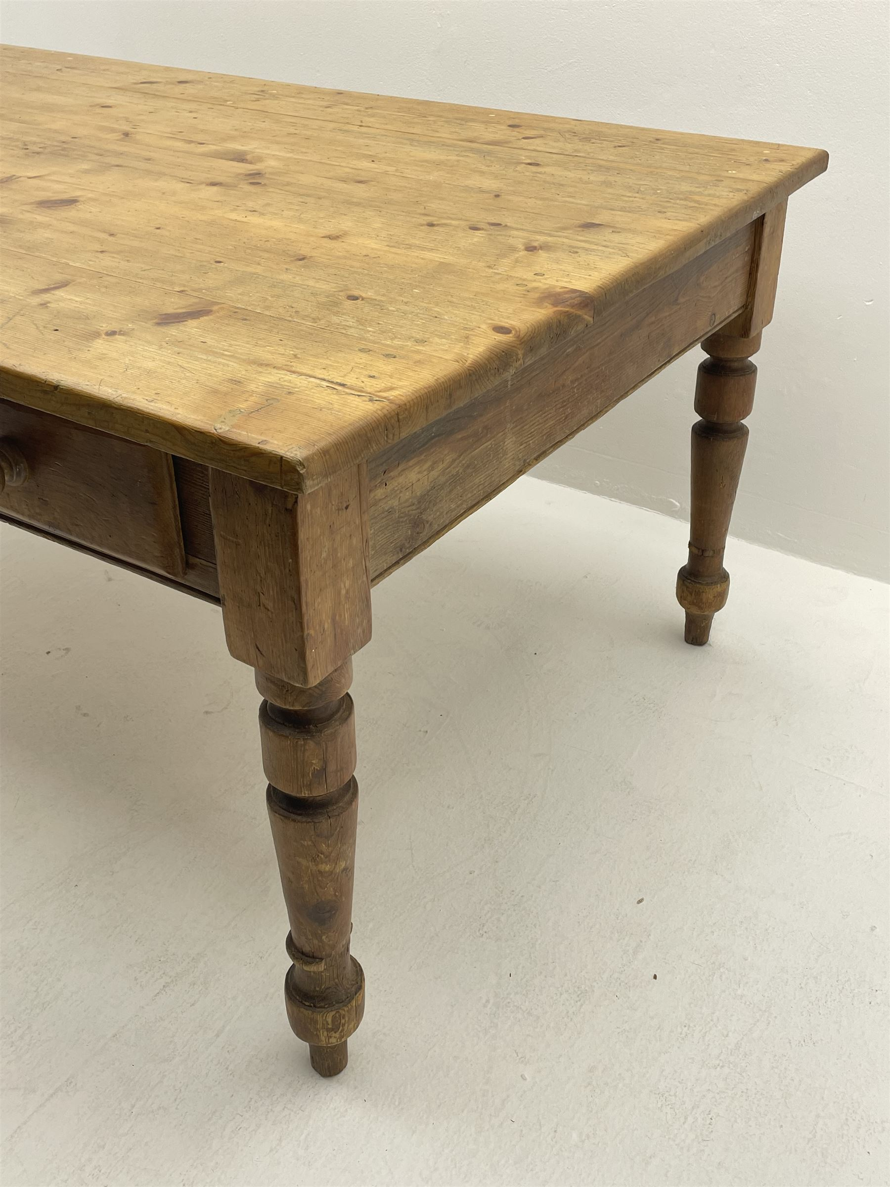 19th century and later pine farmhouse style kitchen dining table - Image 3 of 4