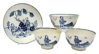 Three late 18th century Pennington Liverpool blue and white tea bowls