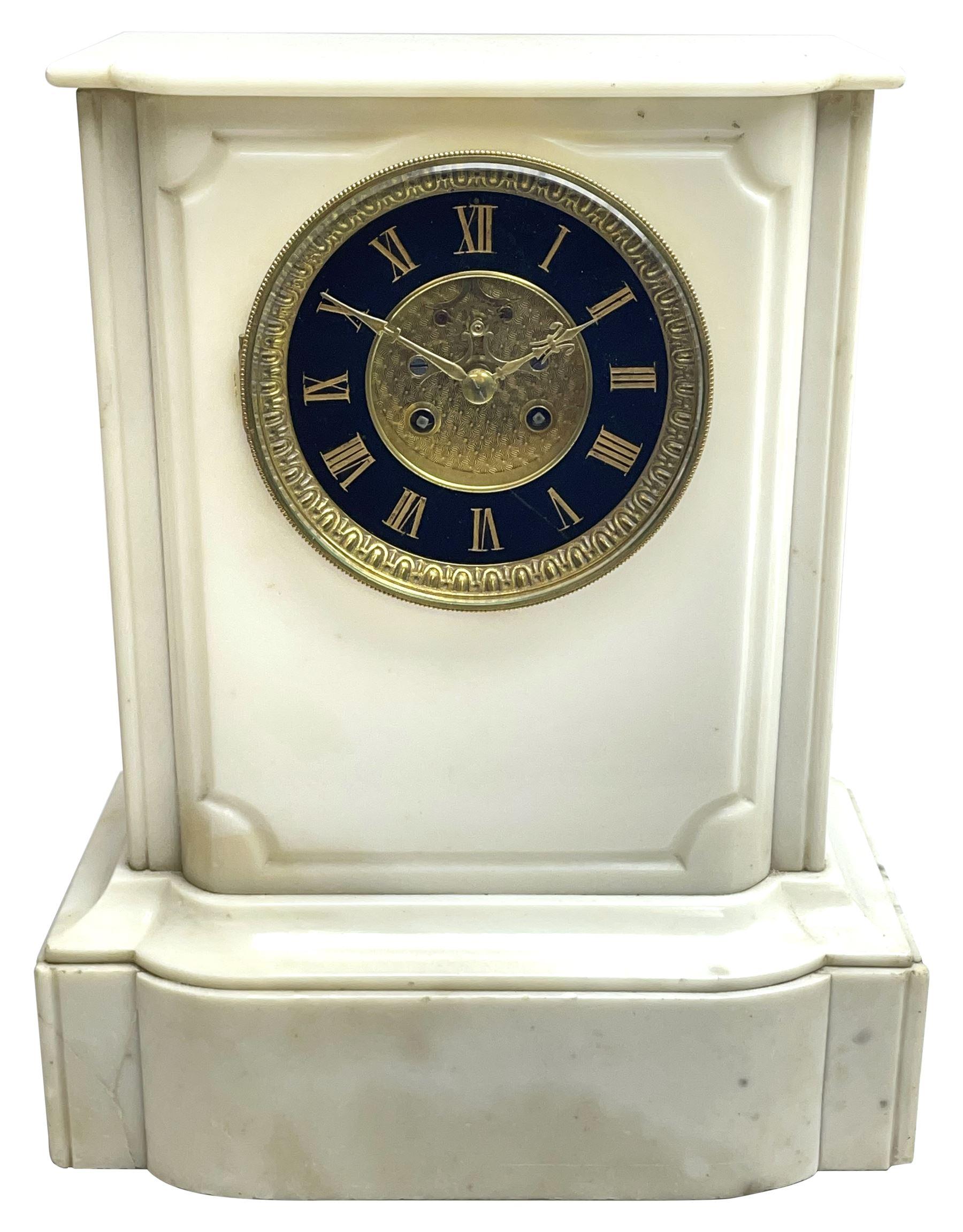 Victorian alabaster mantel clock