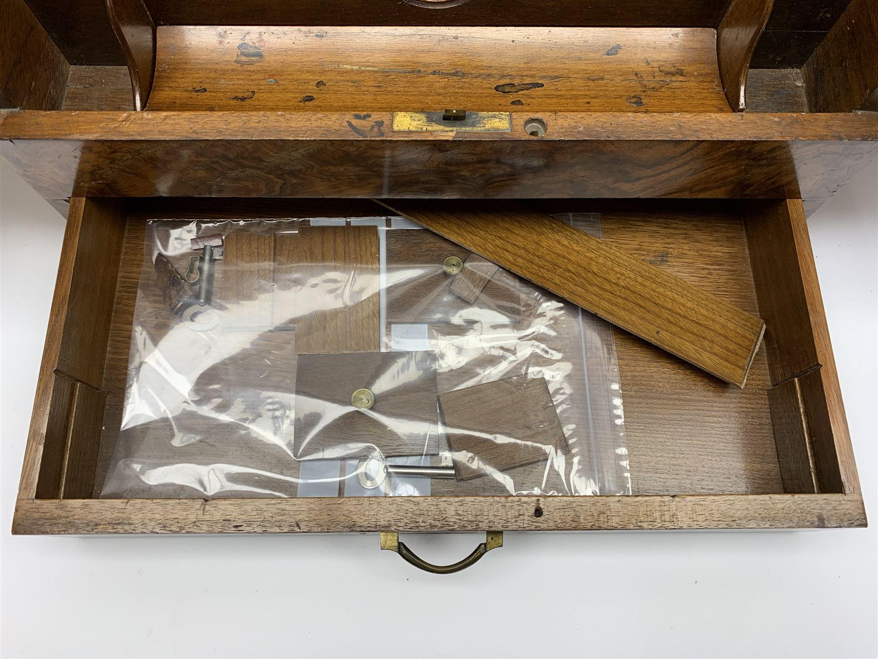 Late Victorian walnut correspondence box - Image 13 of 13