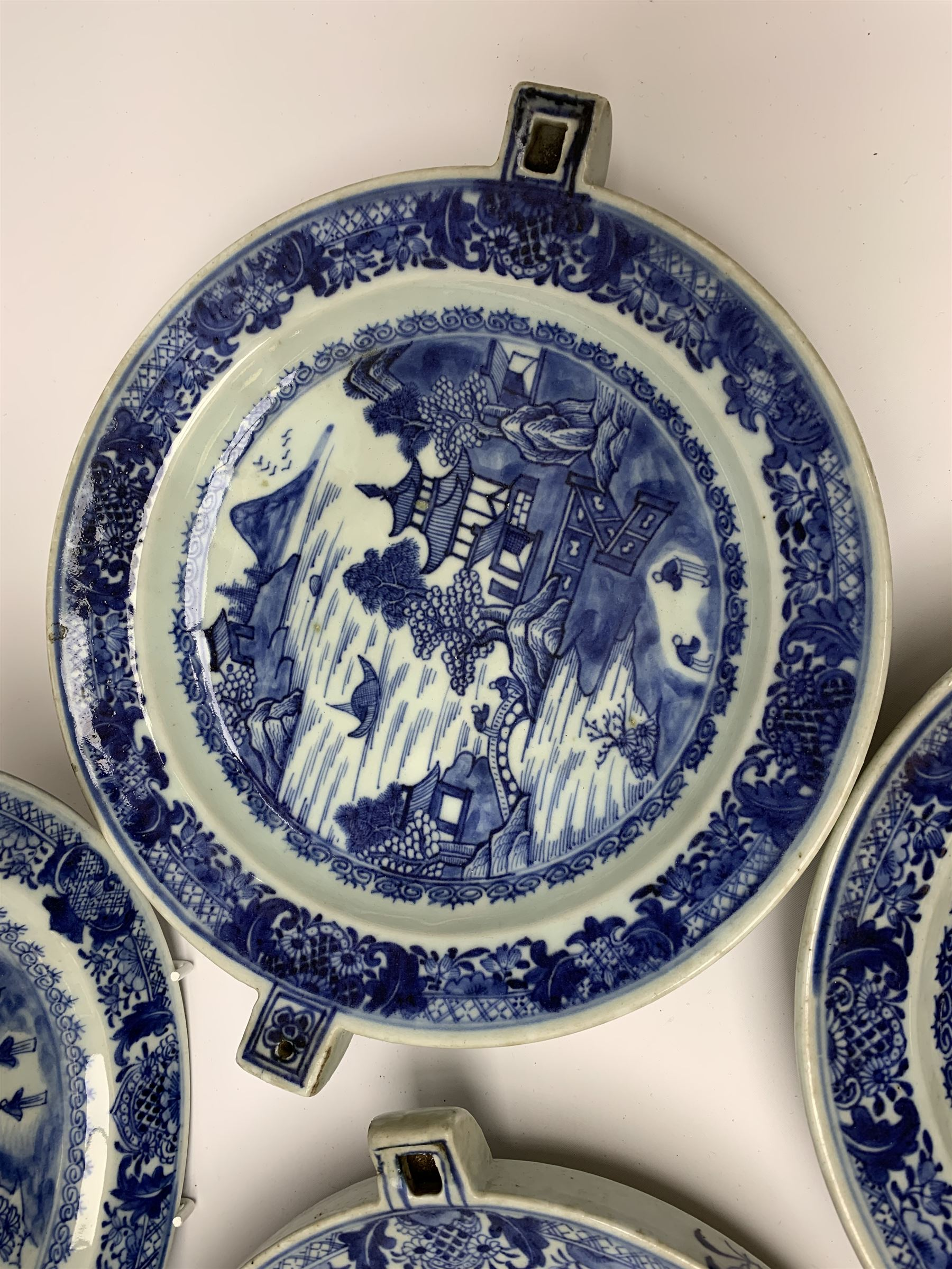Set of seven late 18th/early 19th century Chinese export blue and white hot water plates - Image 6 of 11