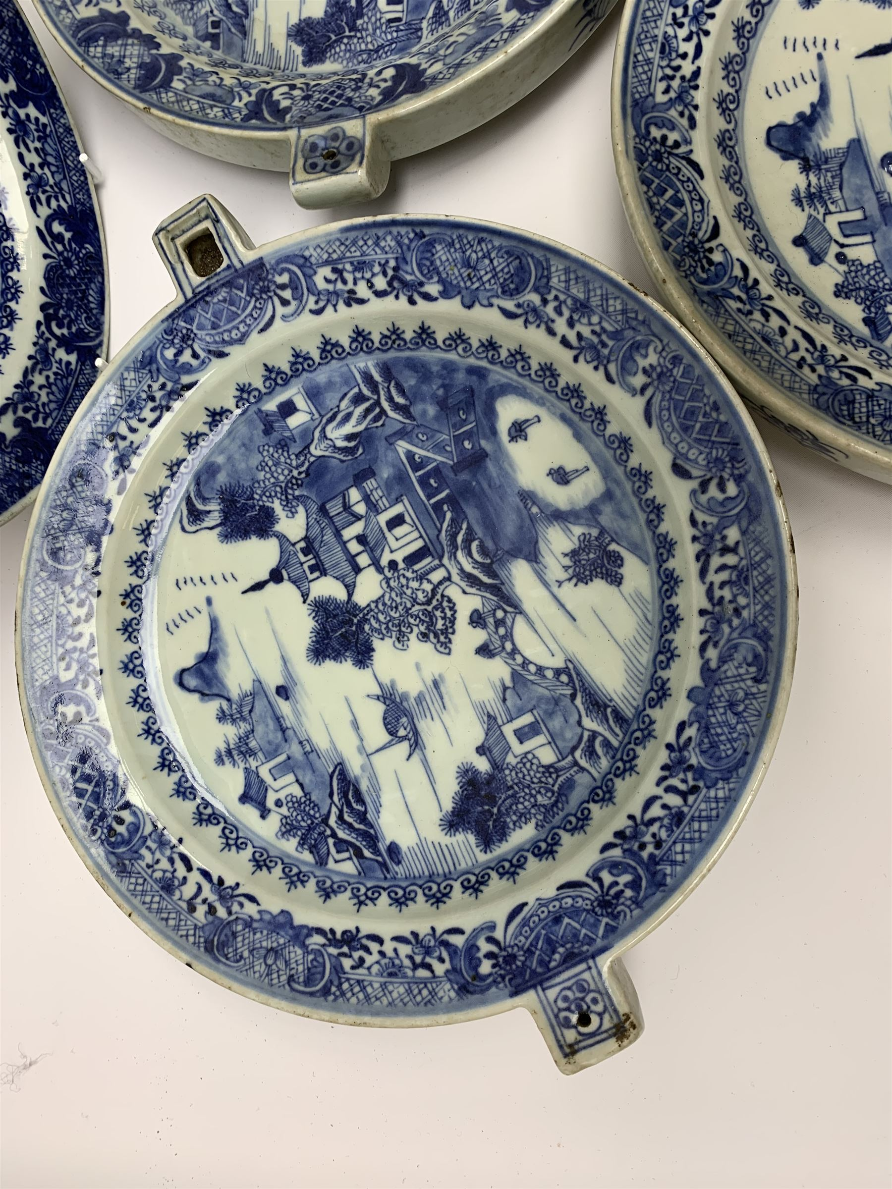 Set of seven late 18th/early 19th century Chinese export blue and white hot water plates - Image 8 of 11
