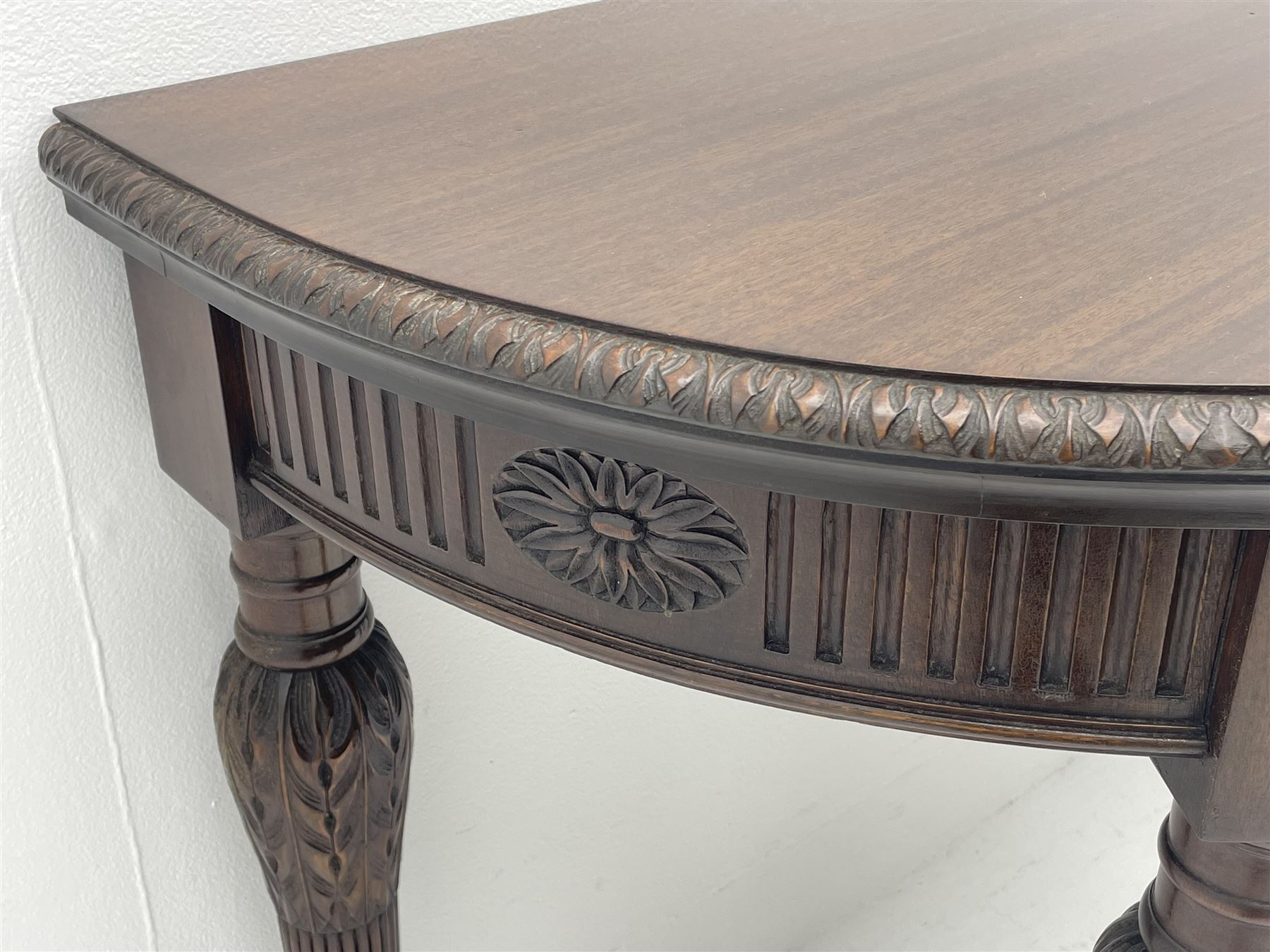Pair early 20th century Hepplewhite style mahogany D-end console tables - Image 3 of 7