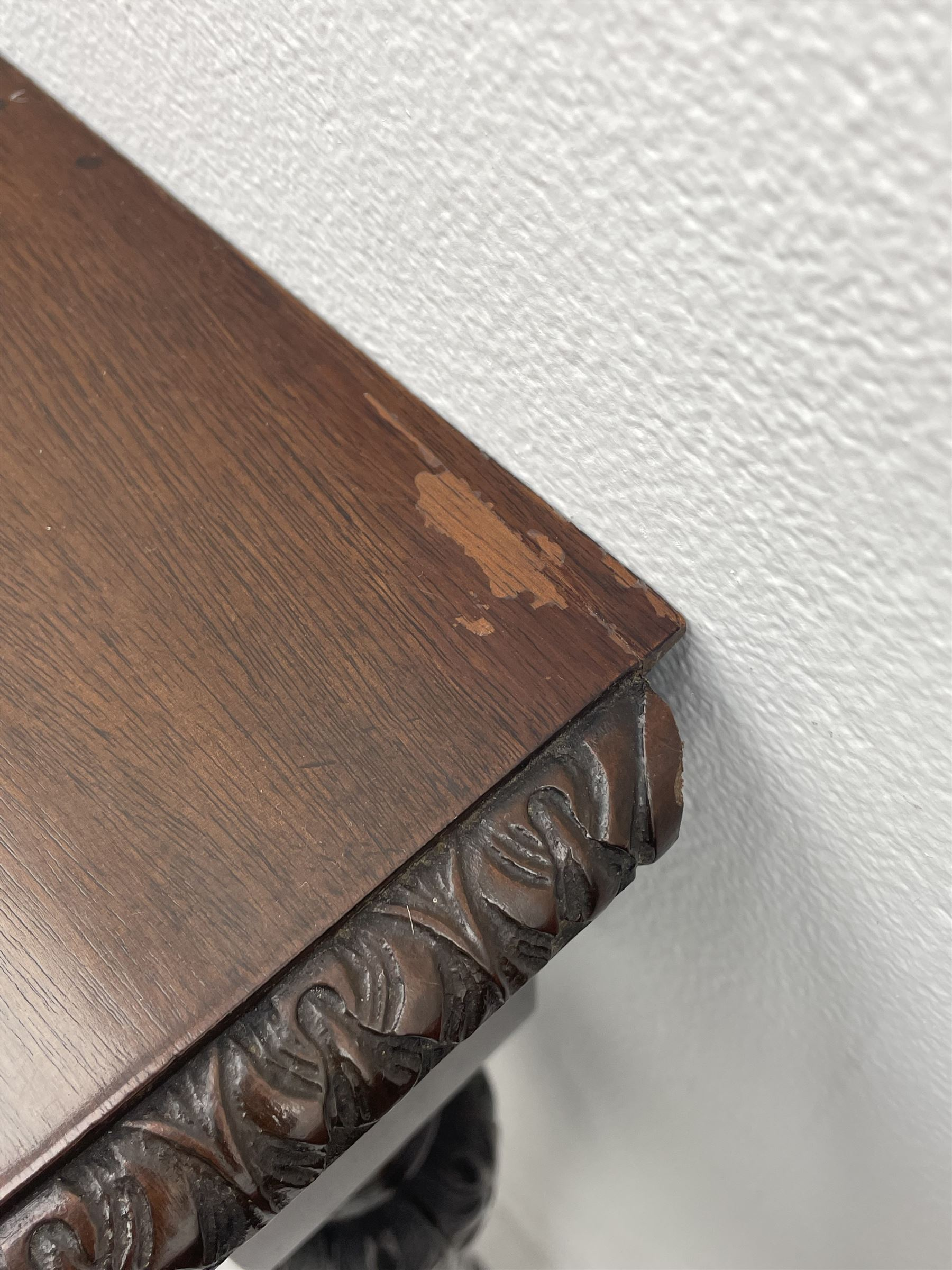Pair early 20th century Hepplewhite style mahogany D-end console tables - Image 5 of 7