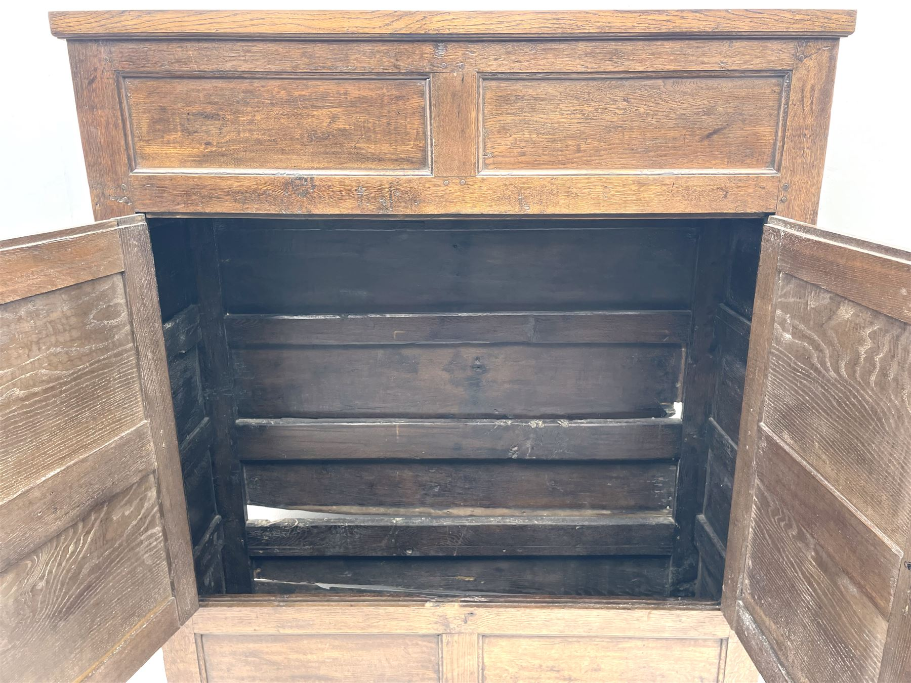 18th century and later oak livery cupboard - Image 4 of 8