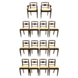Set of fourteen Regency mahogany dining chairs