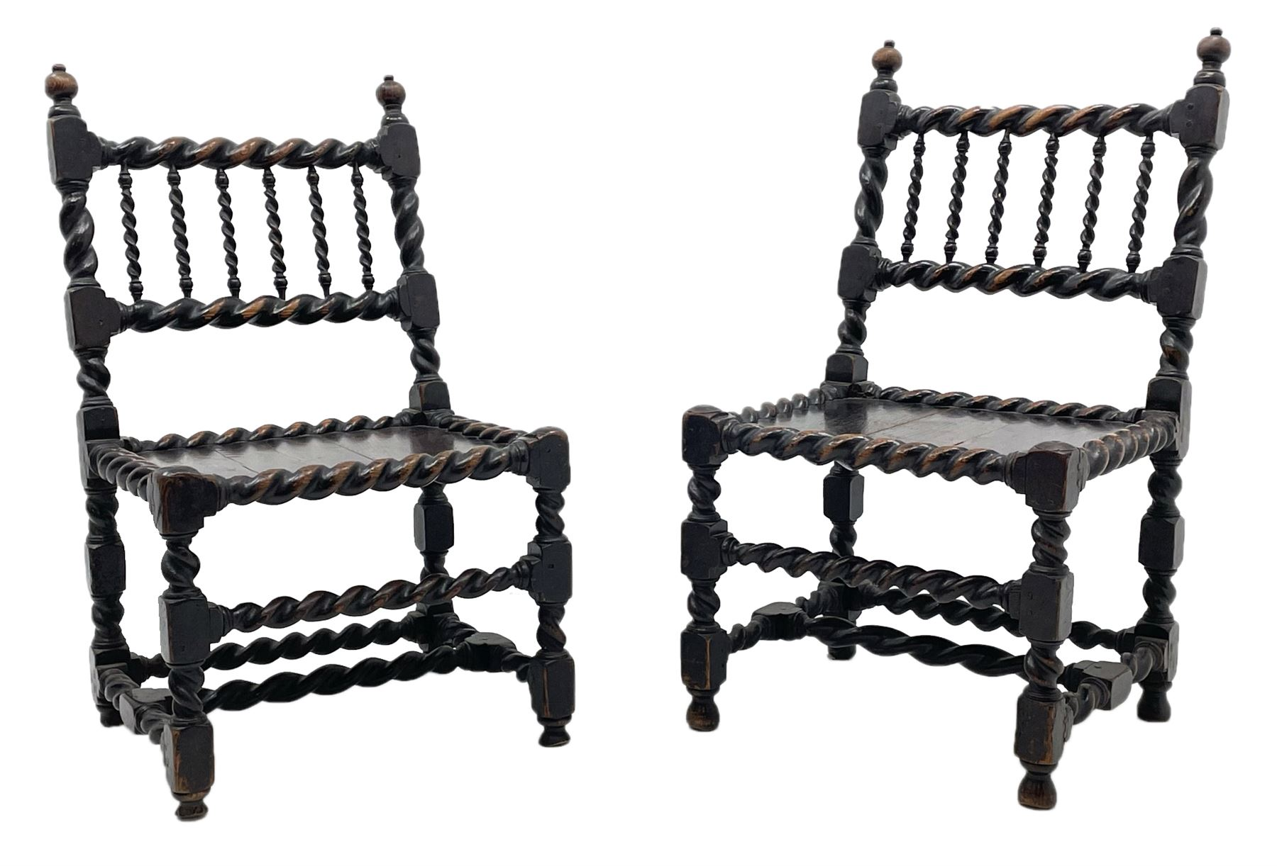 Unusual pair late 17th century oak spindle-back chairs