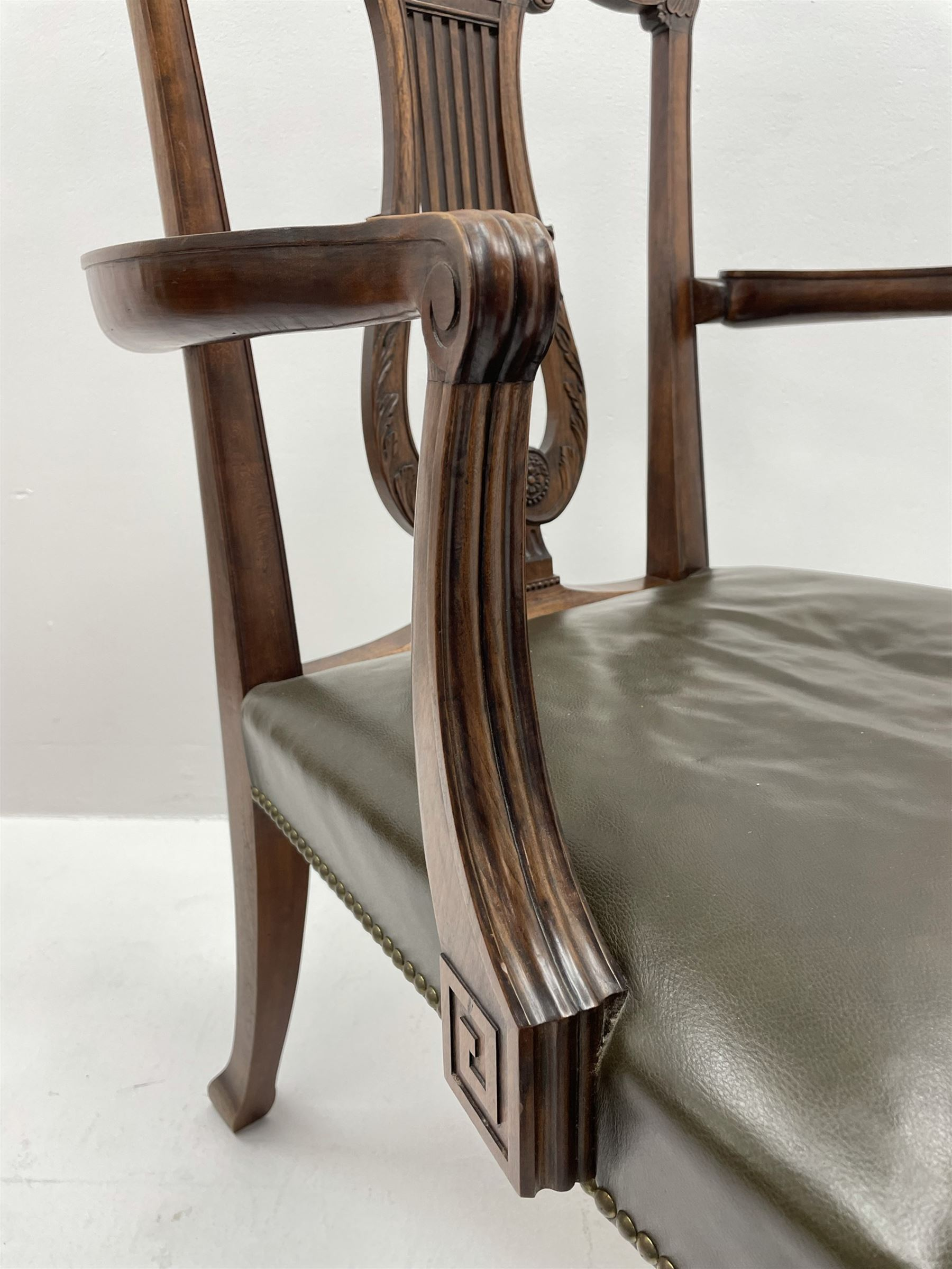 Pair late 20th century cherry wood Chippendale style elbow chairs - Image 3 of 8
