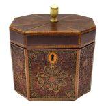 George III mahogany and quillwork tea caddy