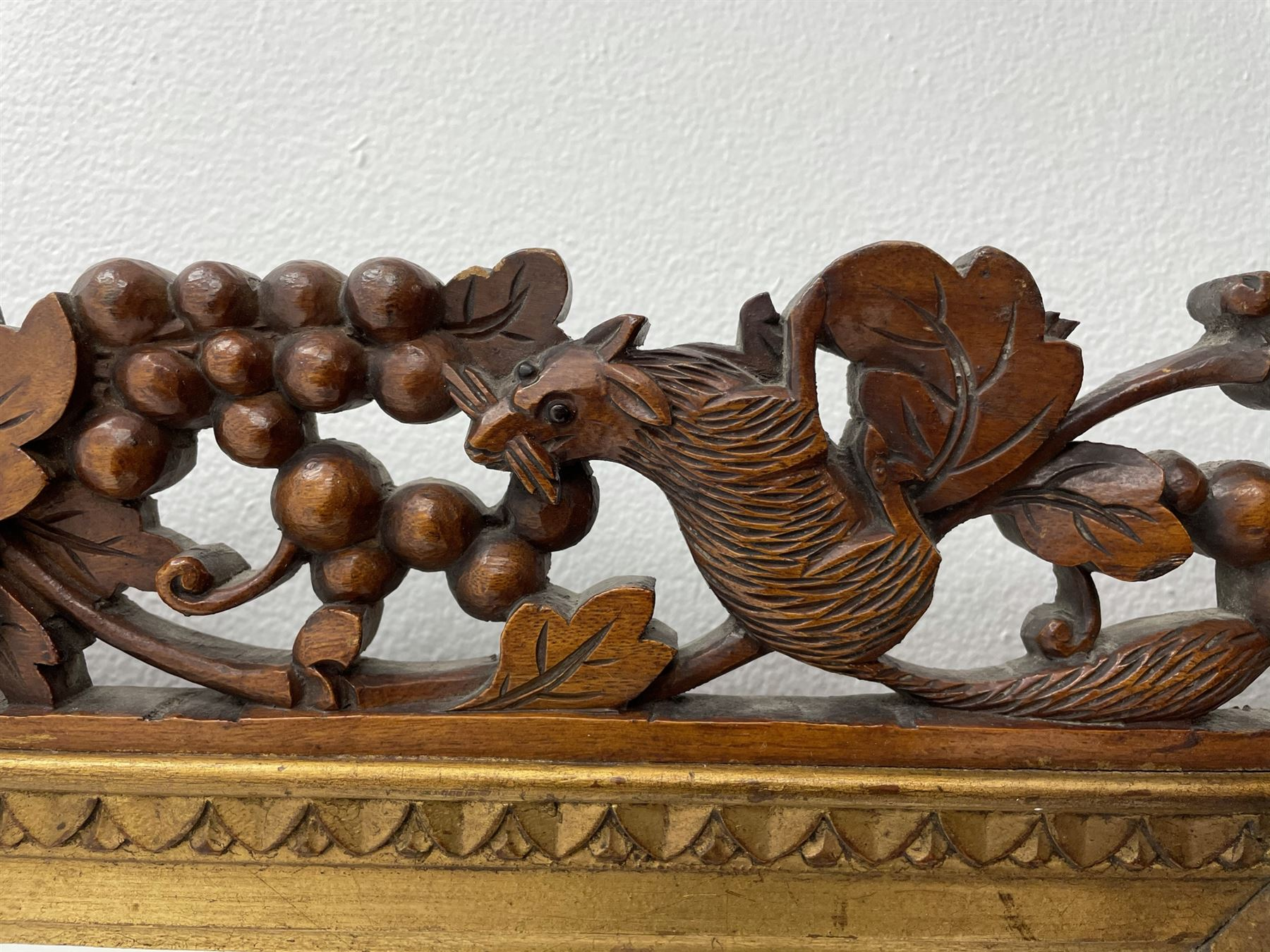 20th century rectangular wall mirror in walnut frame carved and pierced with foliage and berry decor - Image 3 of 4