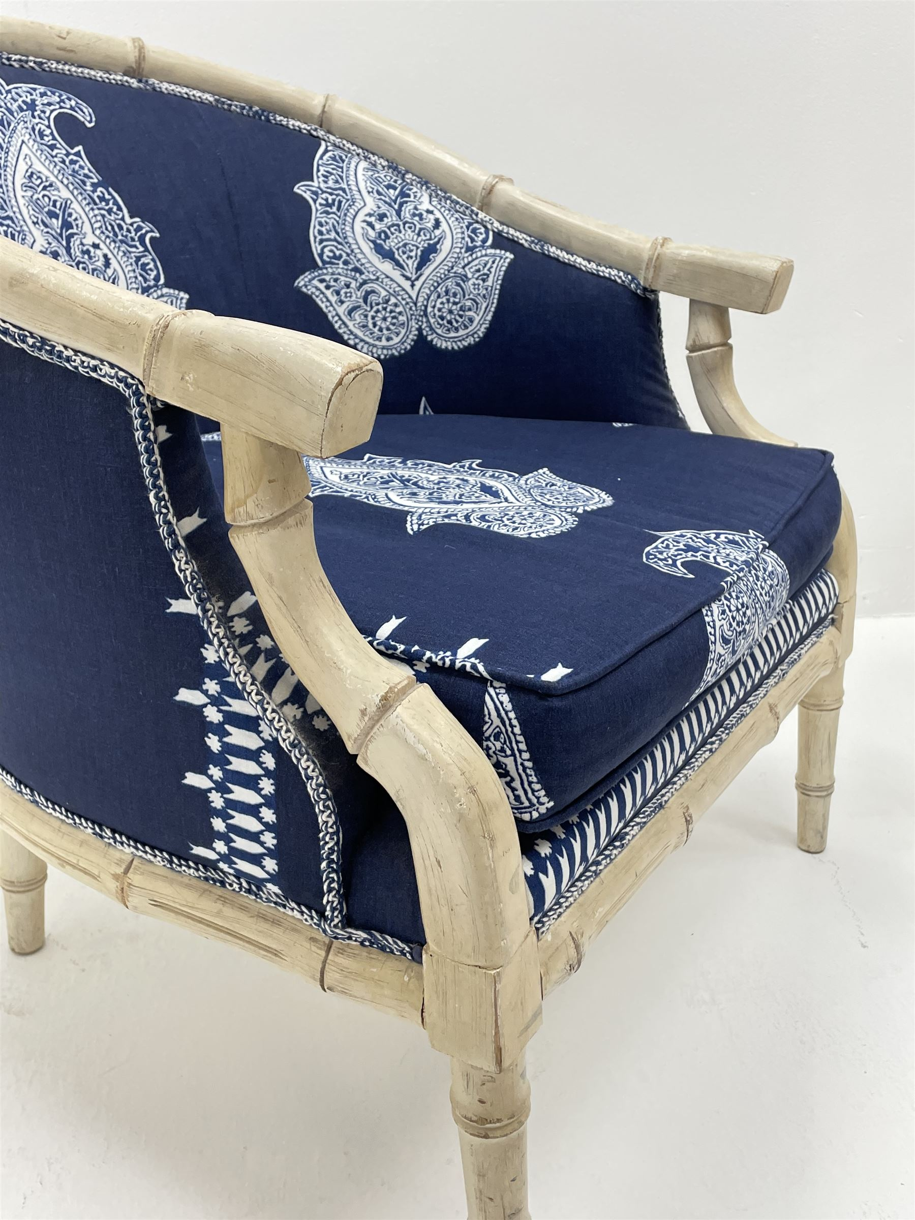 Pair contemporary tub shaped armchairs with faux bamboo wooden frames - Image 2 of 6