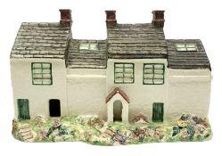 Leeds Pottery pastille burner modelled as two terrace cottages