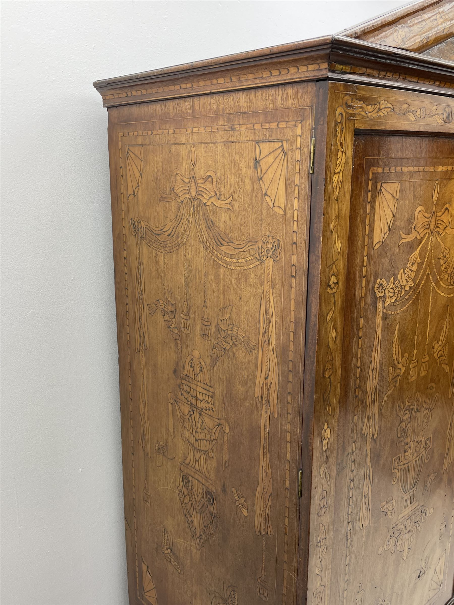Georgian mahogany Dutch style marquetry press cupboard on chest - Image 3 of 8
