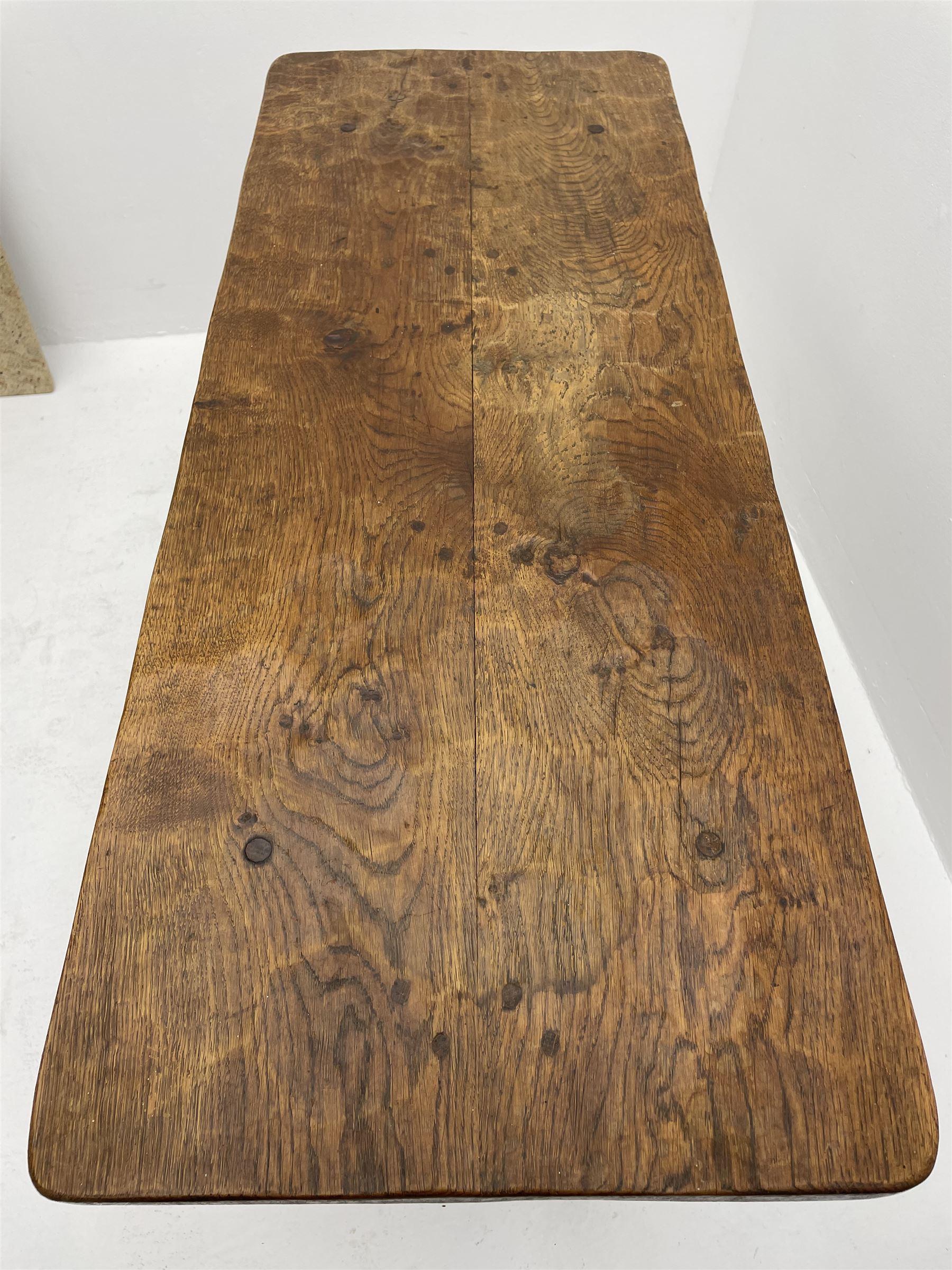 'Gnomeman' adzed oak side table - Image 3 of 4
