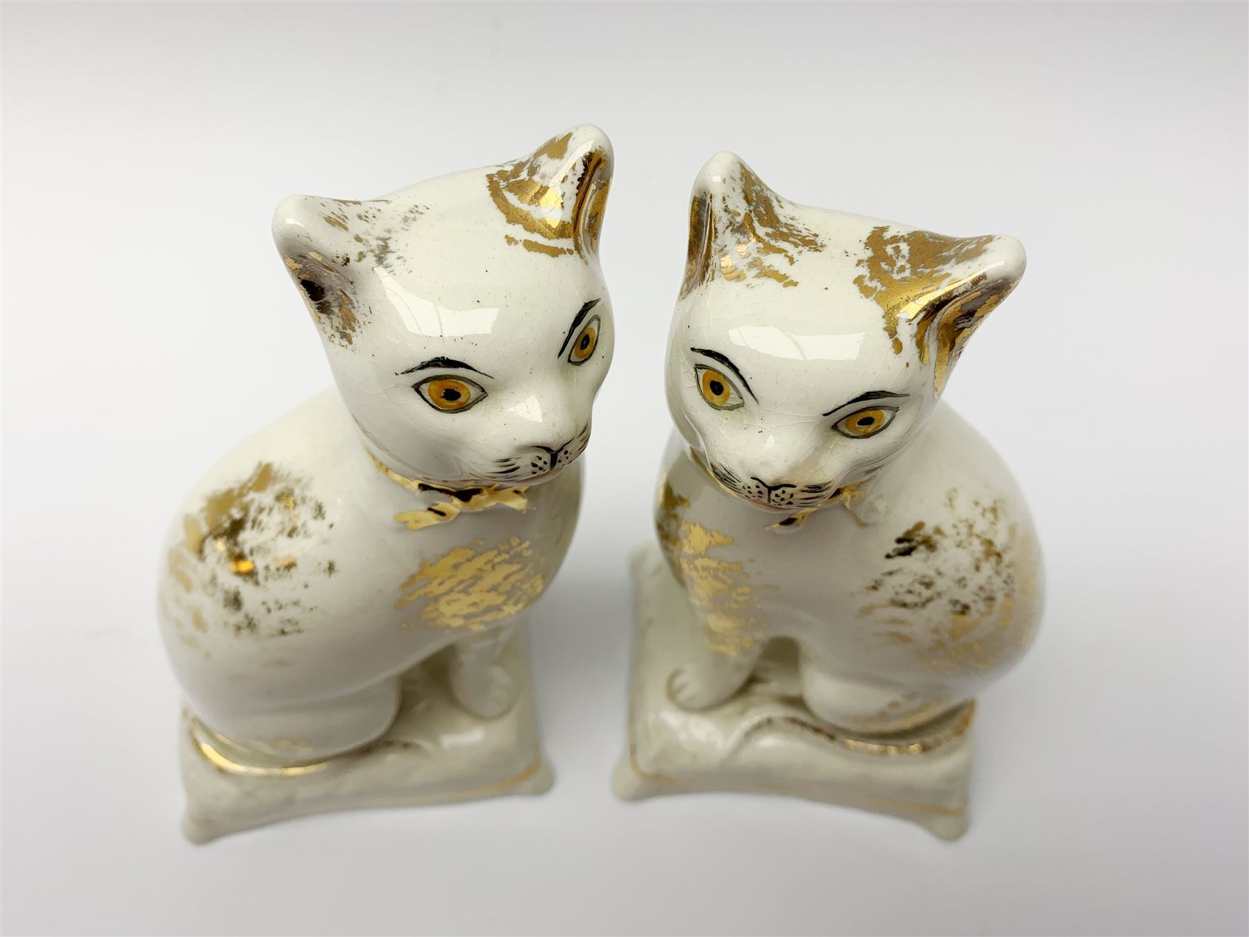Pair of Victorian Staffordshire cats - Image 4 of 11