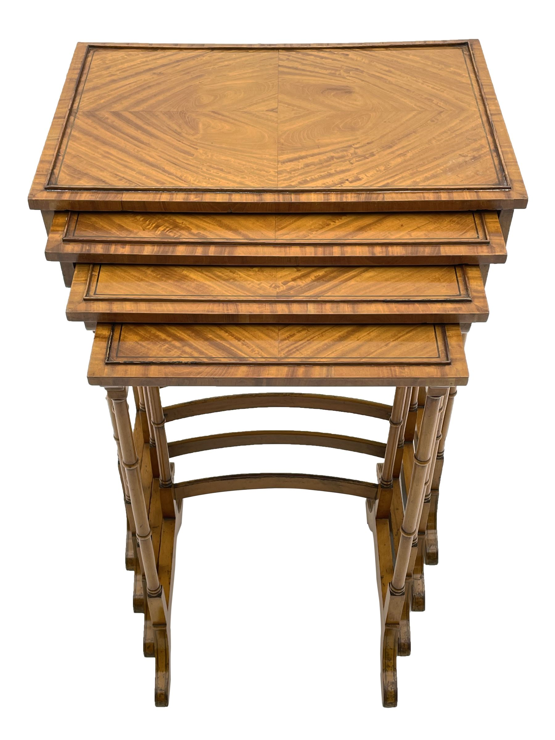 Edwardian satinwood quartetto nest of occasional tables
