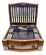 Late 19th/early 20th century composite canteen of silver flatware