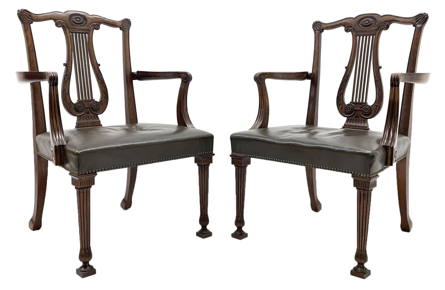 Pair late 20th century cherry wood Chippendale style elbow chairs