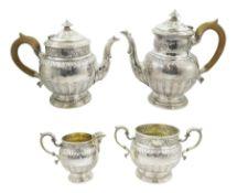 Early 20th century silver four piece tea set