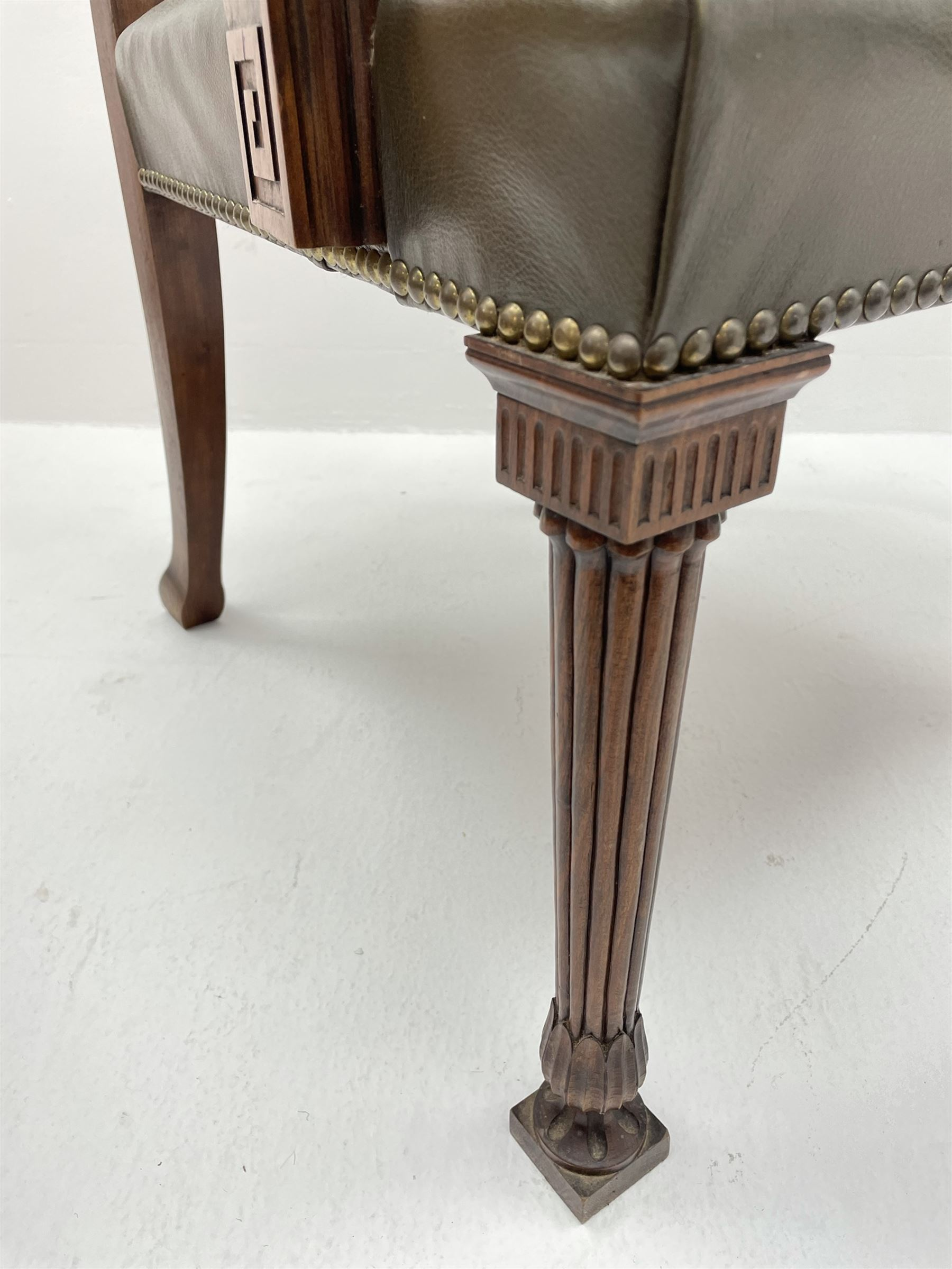Pair late 20th century cherry wood Chippendale style elbow chairs - Image 4 of 8