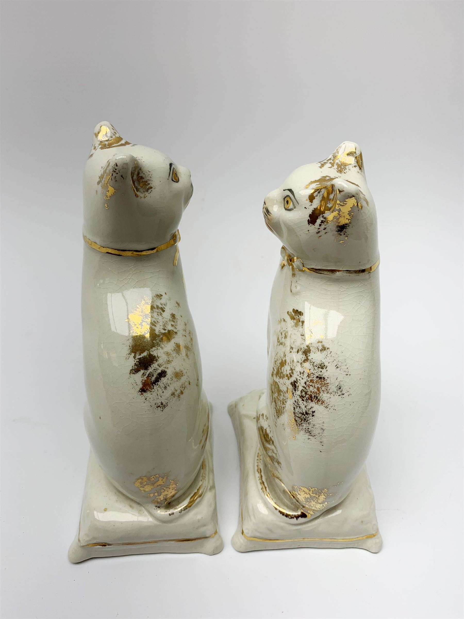Pair of Victorian Staffordshire cats - Image 8 of 11