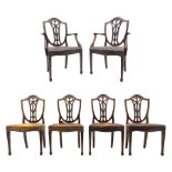 Set six early 20th century Sheraton revival dining chairs