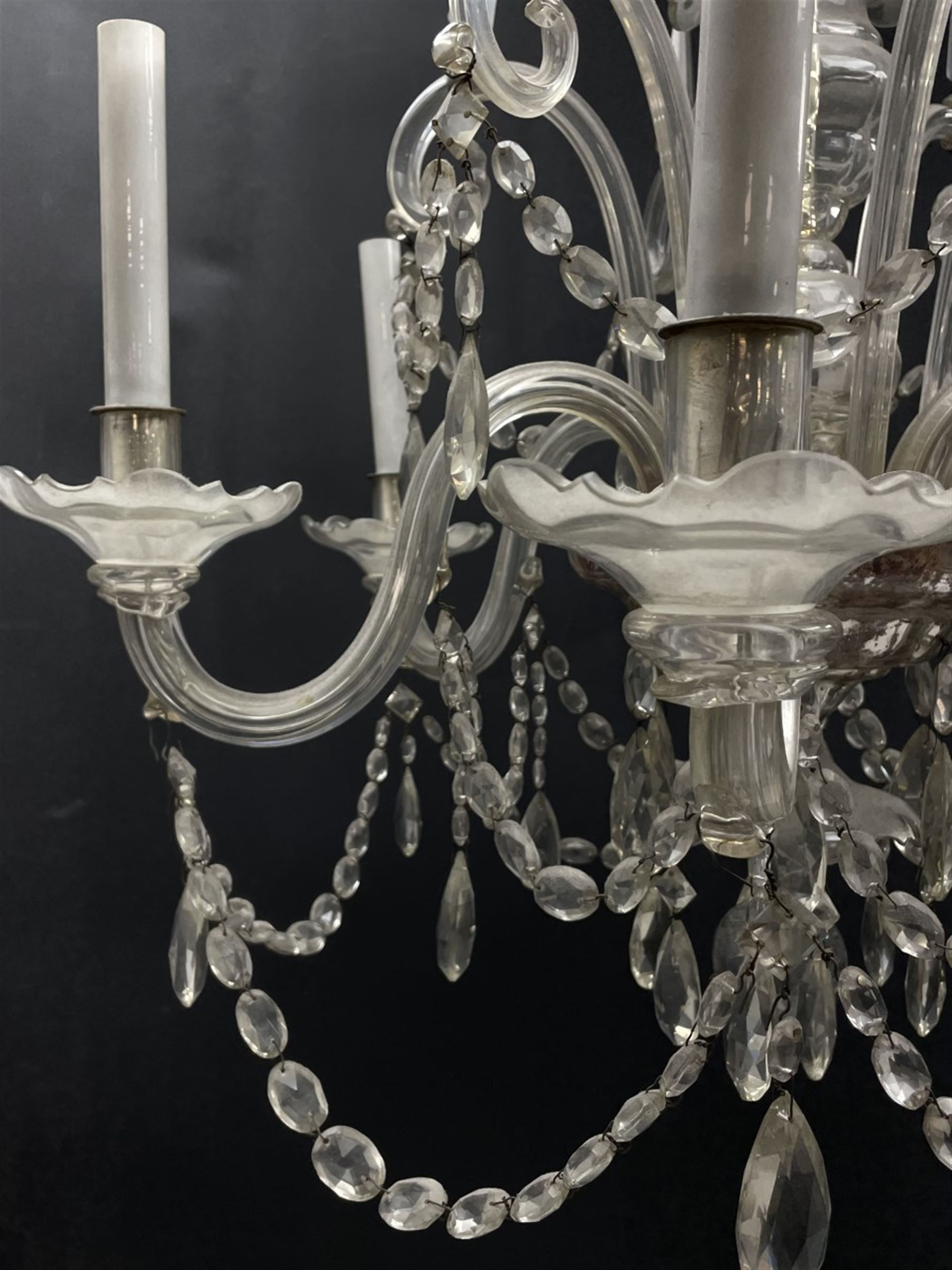 Late 20th century glass chandelier - Image 4 of 5