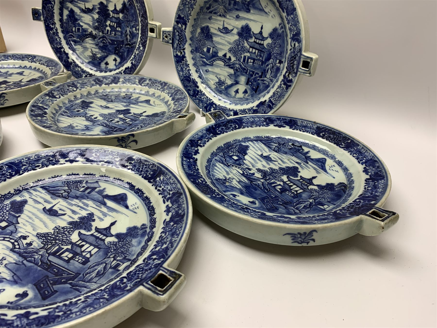 Set of seven late 18th/early 19th century Chinese export blue and white hot water plates - Image 2 of 11