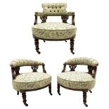 Edwardian walnut three piece drawing room salon suite - pair tub shaped occasional chairs and nursin