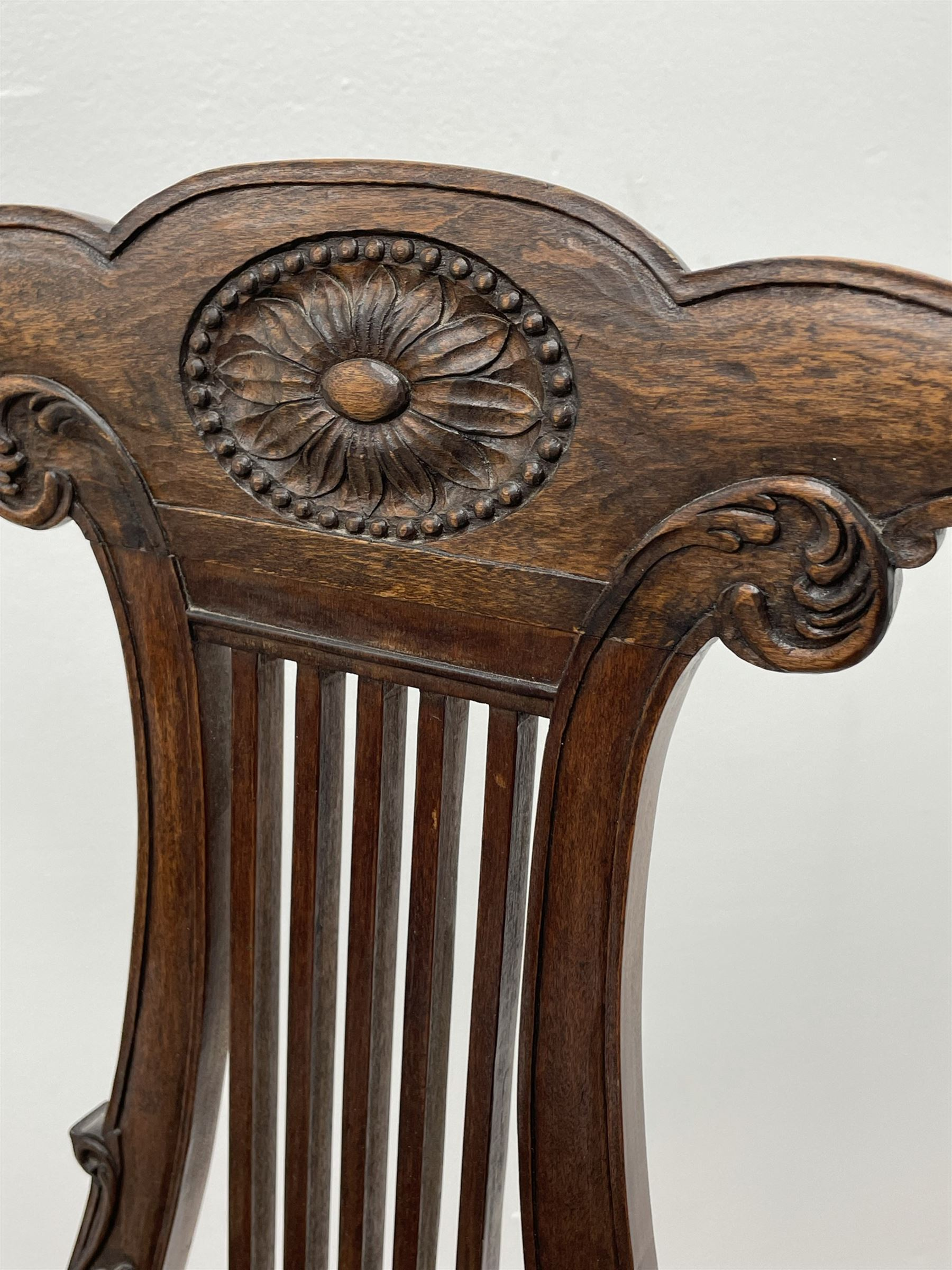 Pair late 20th century cherry wood Chippendale style elbow chairs - Image 8 of 8
