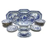 Late 18th/early 19th century Chinese export blue and white forty seven piece part dinner service