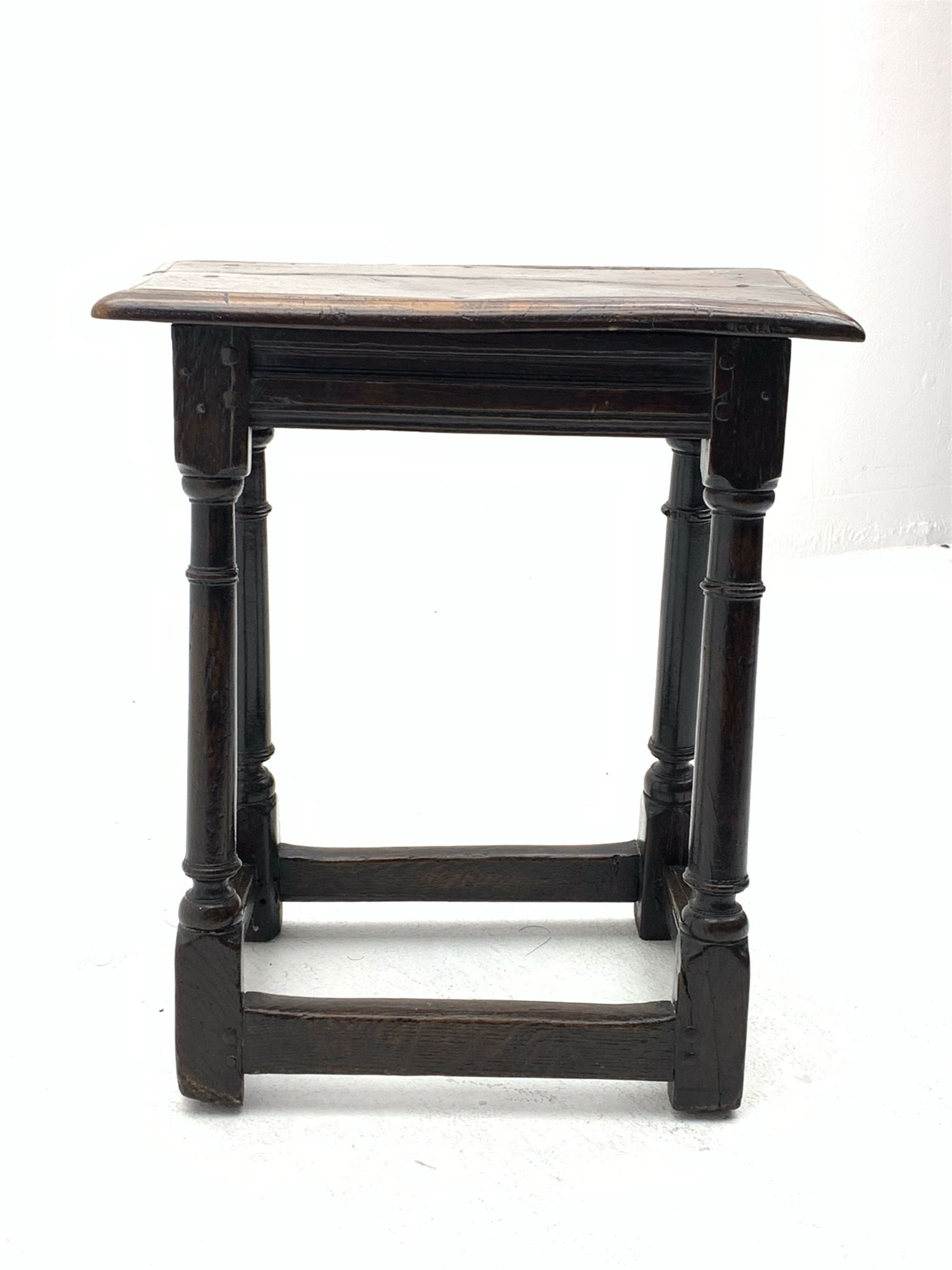 Late 17th century oak joined stool - Image 4 of 8