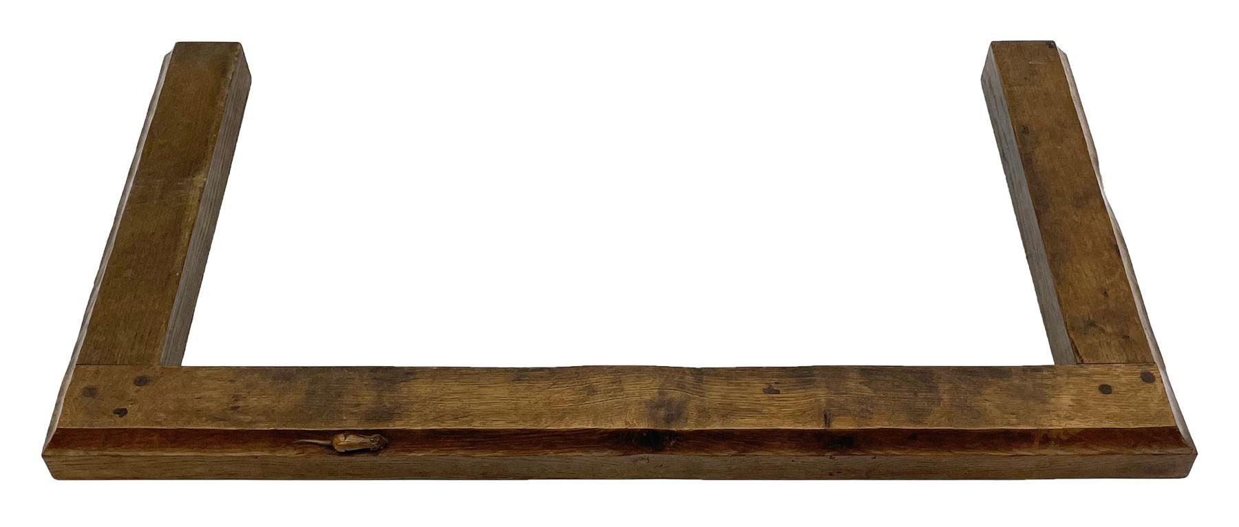 'Mouseman' 1930s/40s tooled oak fire fender