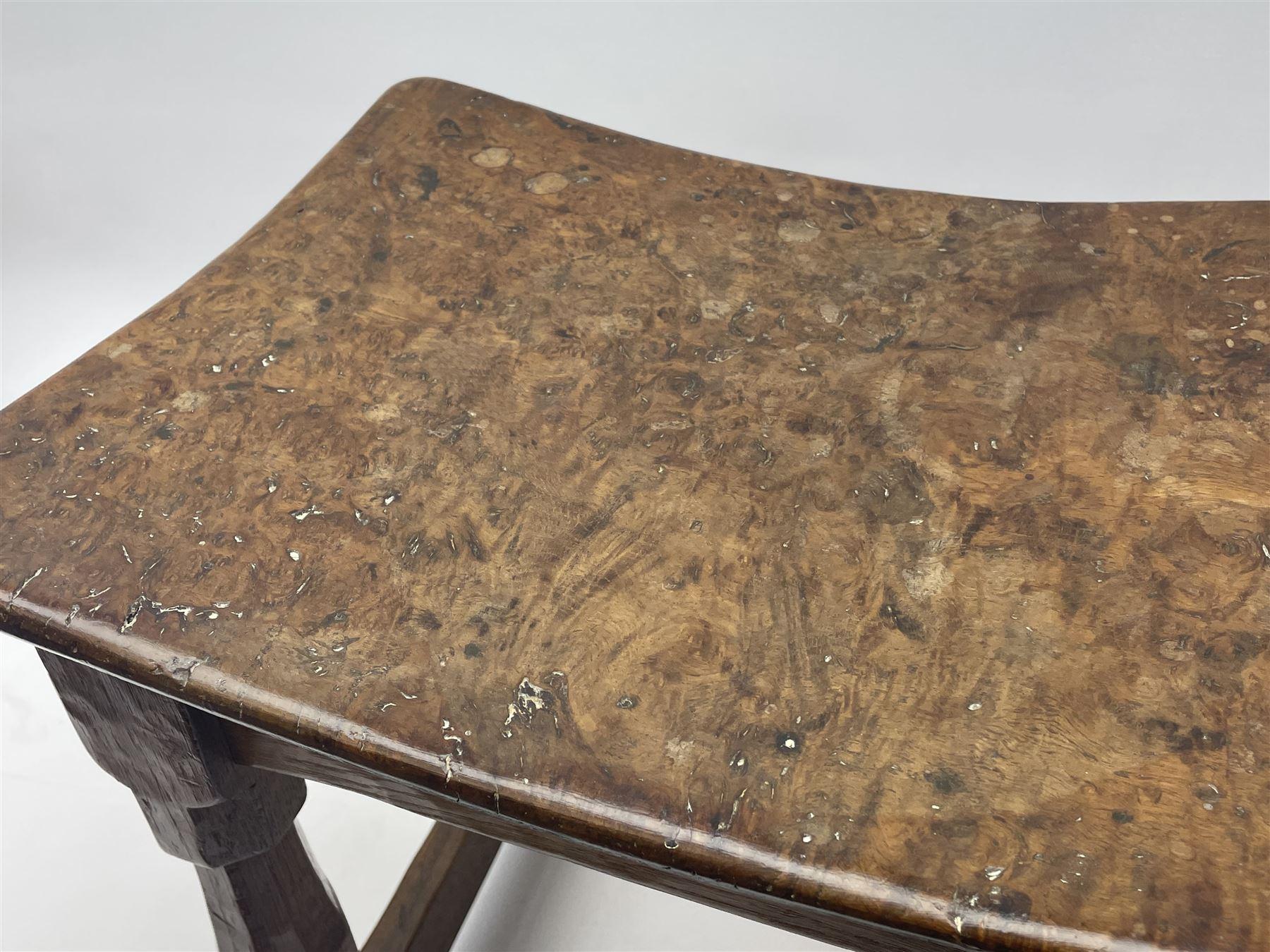 'Mouseman' 1940s adzed oak joint stool - Image 6 of 7