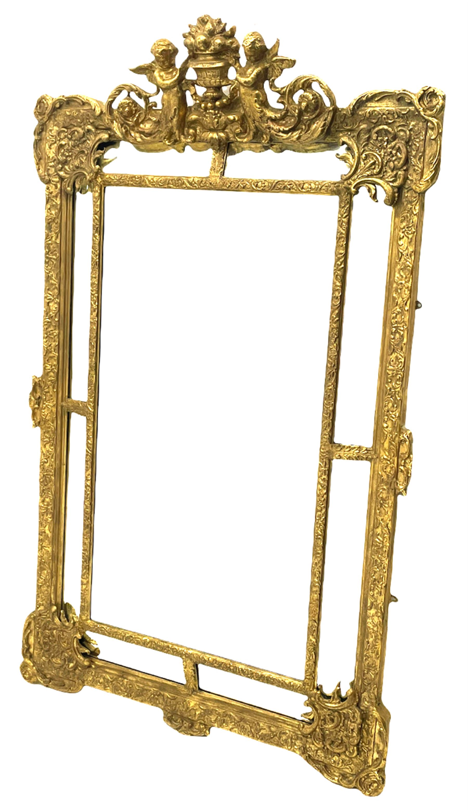 Large Victorian style gilt cushion framed mirror