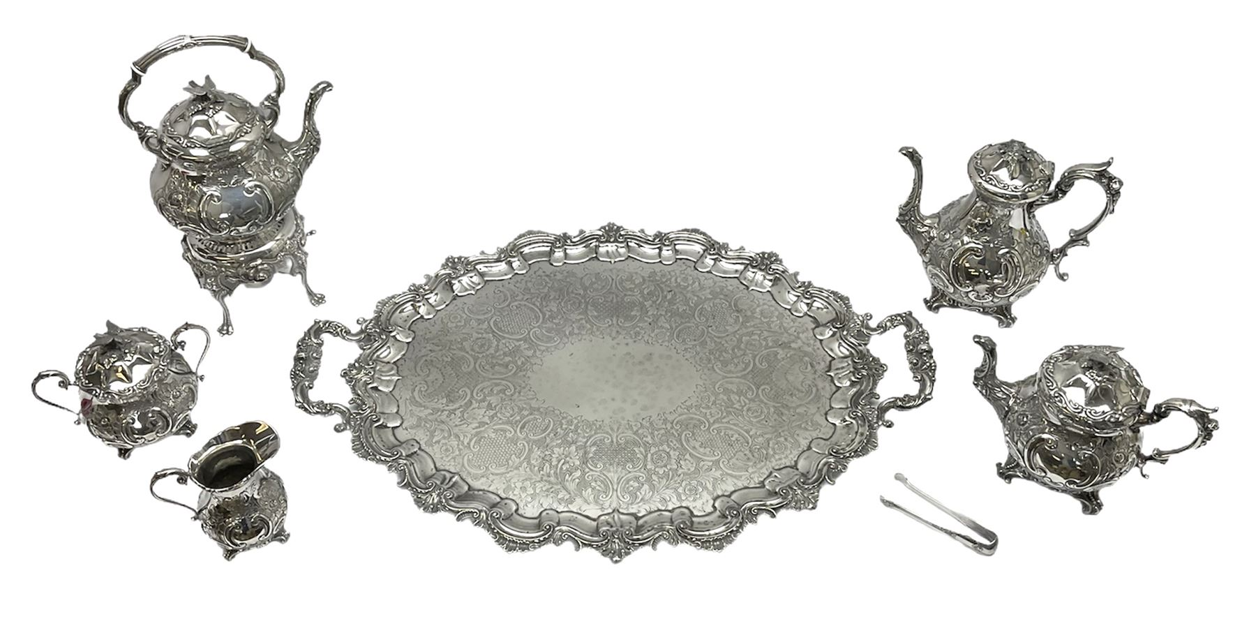 Edwardian silver plated five piece tea service on tray