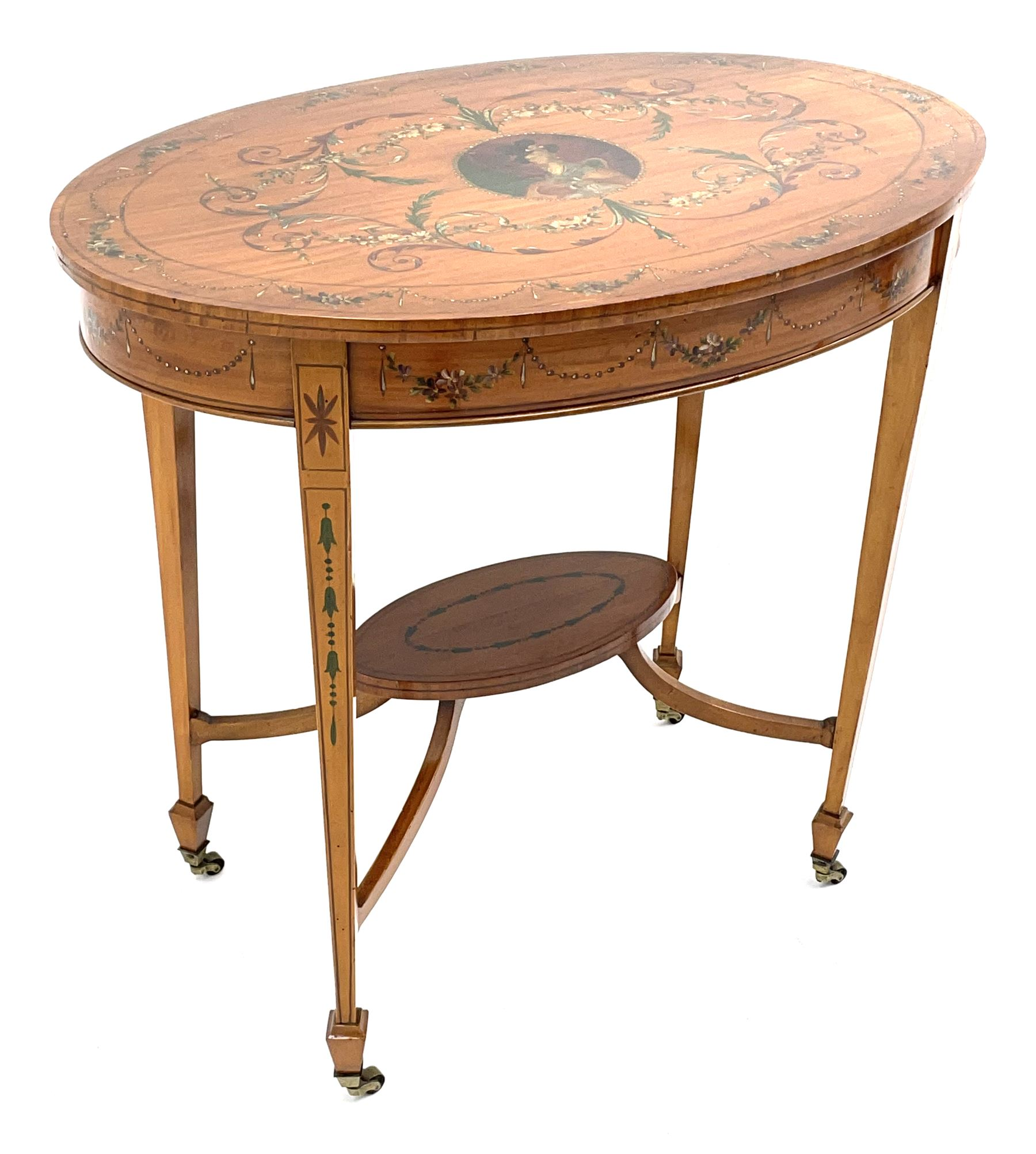 Edwardian Sheraton revival satinwood and painted centre table - Image 2 of 8