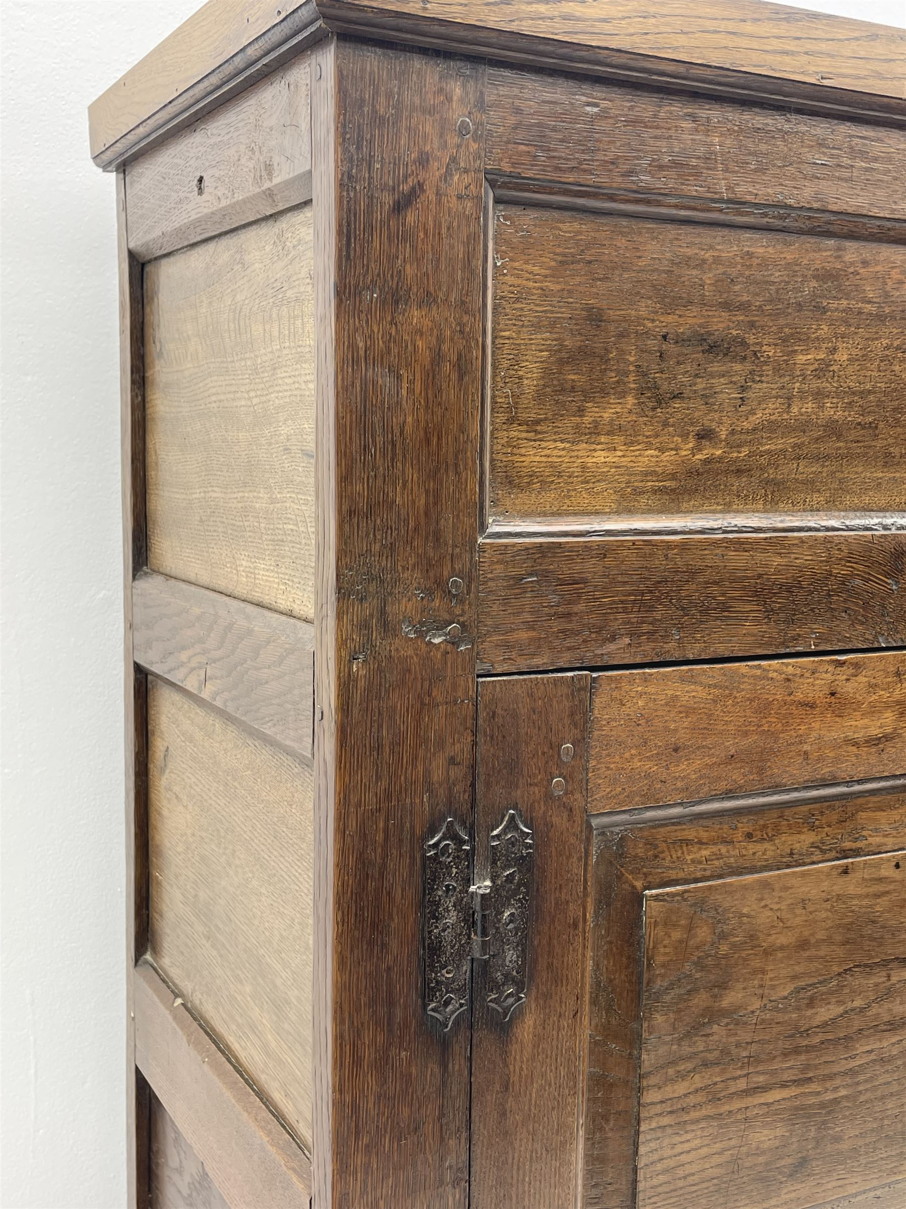 18th century and later oak livery cupboard - Image 3 of 8