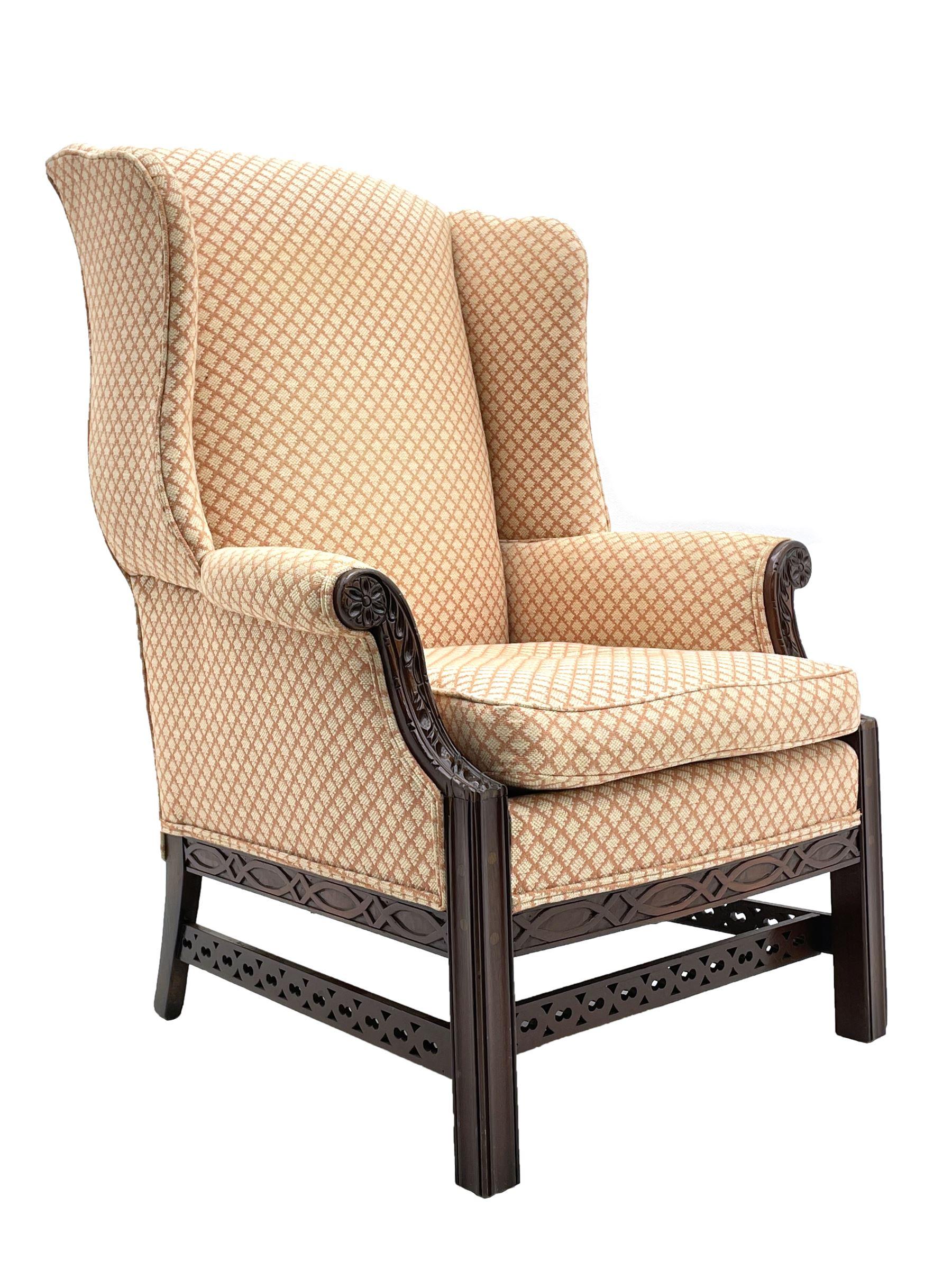 Georgian style mahogany framed wingback armchair